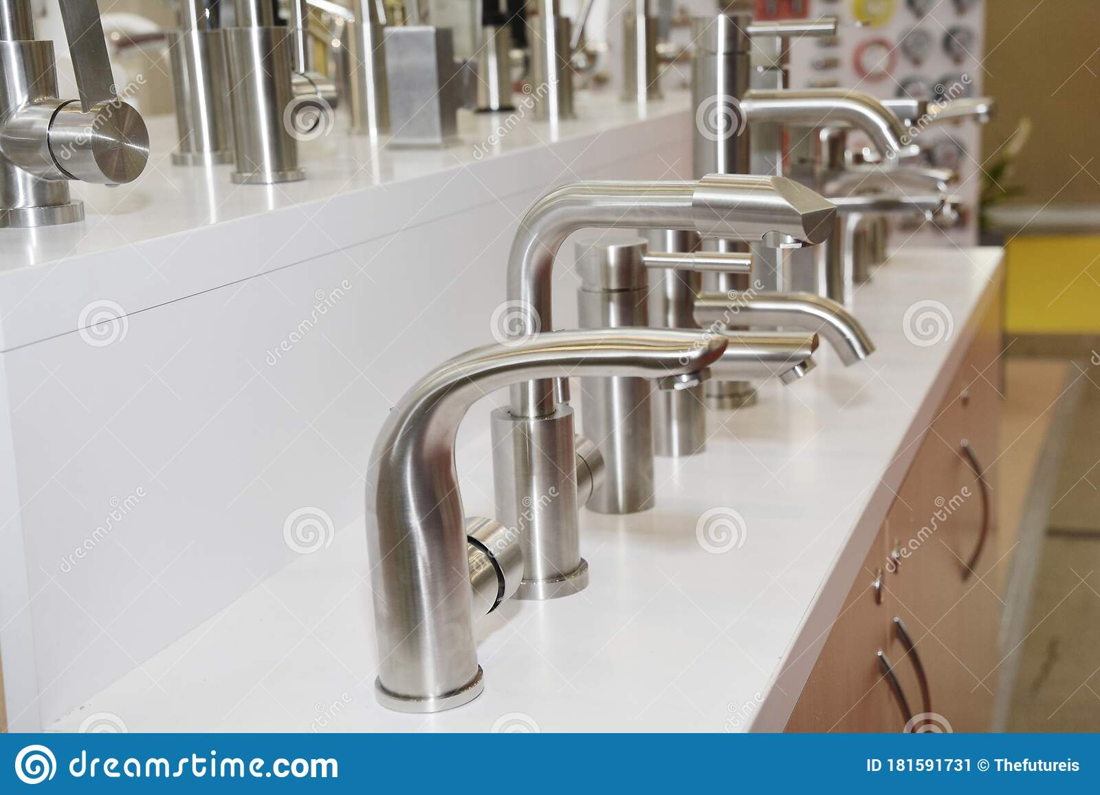 Display Of Water Saving Stainless Steel And Chrome Kitchen Sink Faucets Water Taps In A Shop Stock Image Image Of Metal Sale 181591731