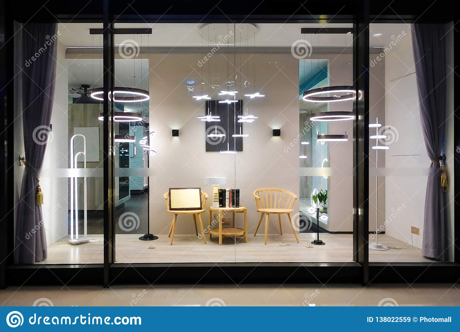 Furniture Lighting Display Window Shop Window Store Window Stock