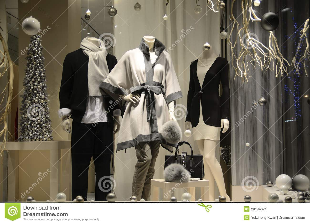 Display window from a clothing store concept of luxury clothing
