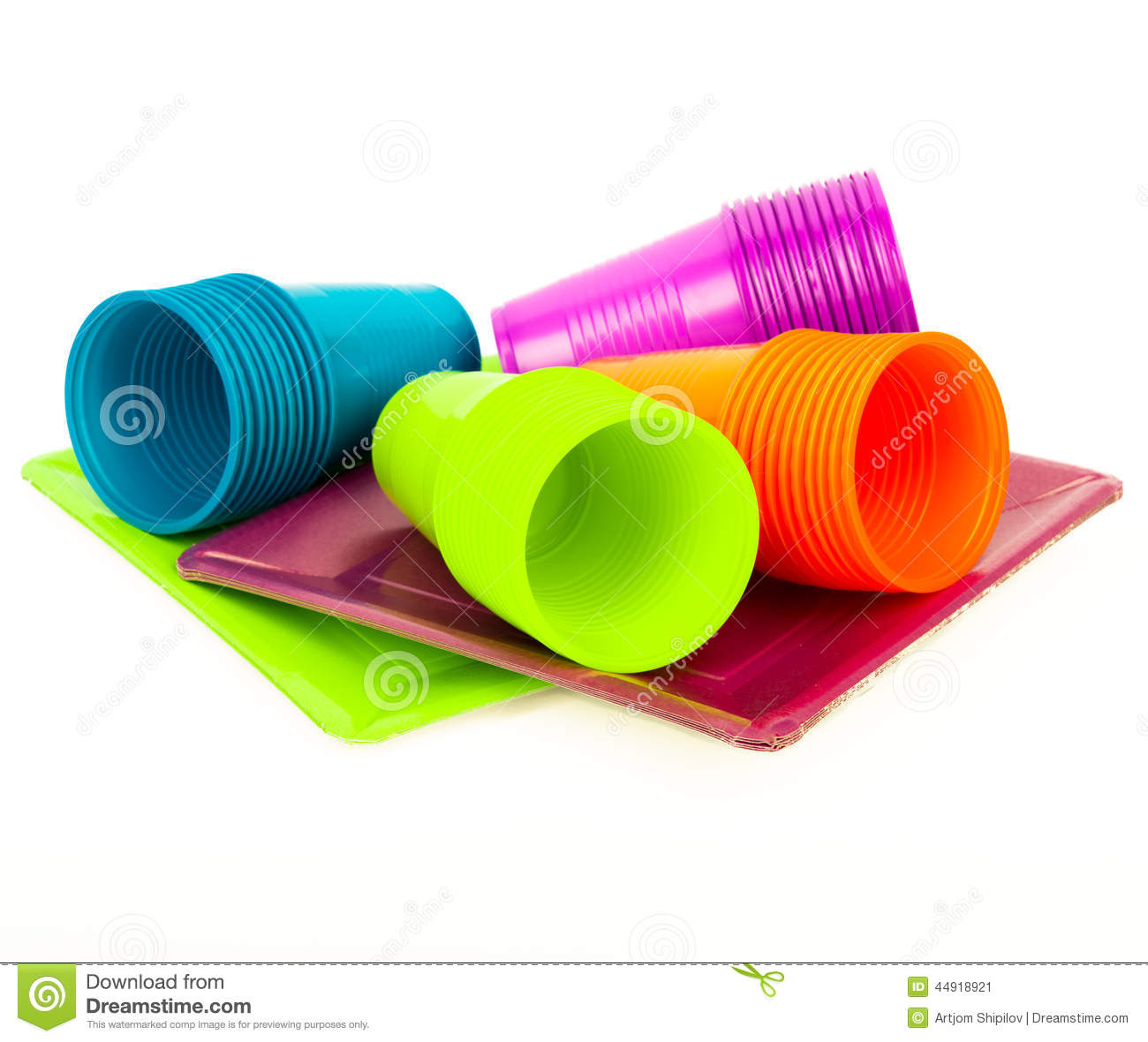 Disposable bright plastic cups and plates stacked  sc 1 st  Dreamstime.com & Disposable Bright Plastic Cups And Plates Stacked Stock Image ...