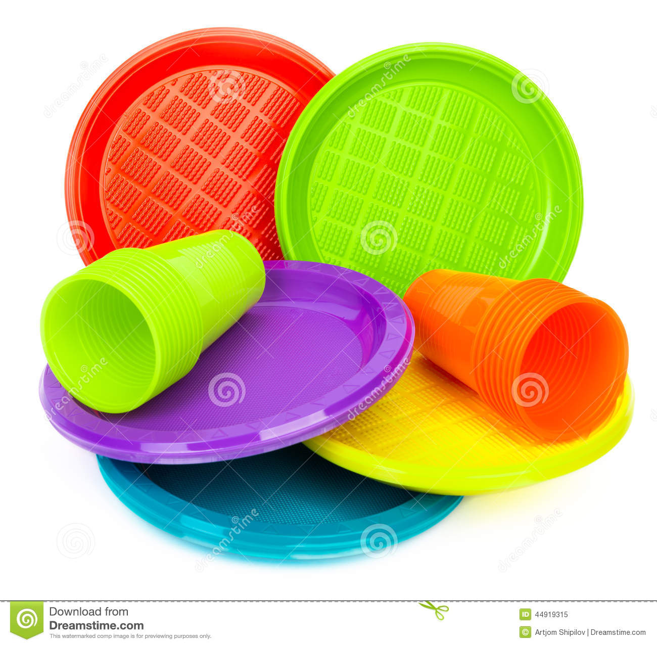 Disposable bright plastic plates and cups on white  sc 1 st  Dreamstime.com & Disposable Bright Plastic Plates And Cups On White Stock Image ...