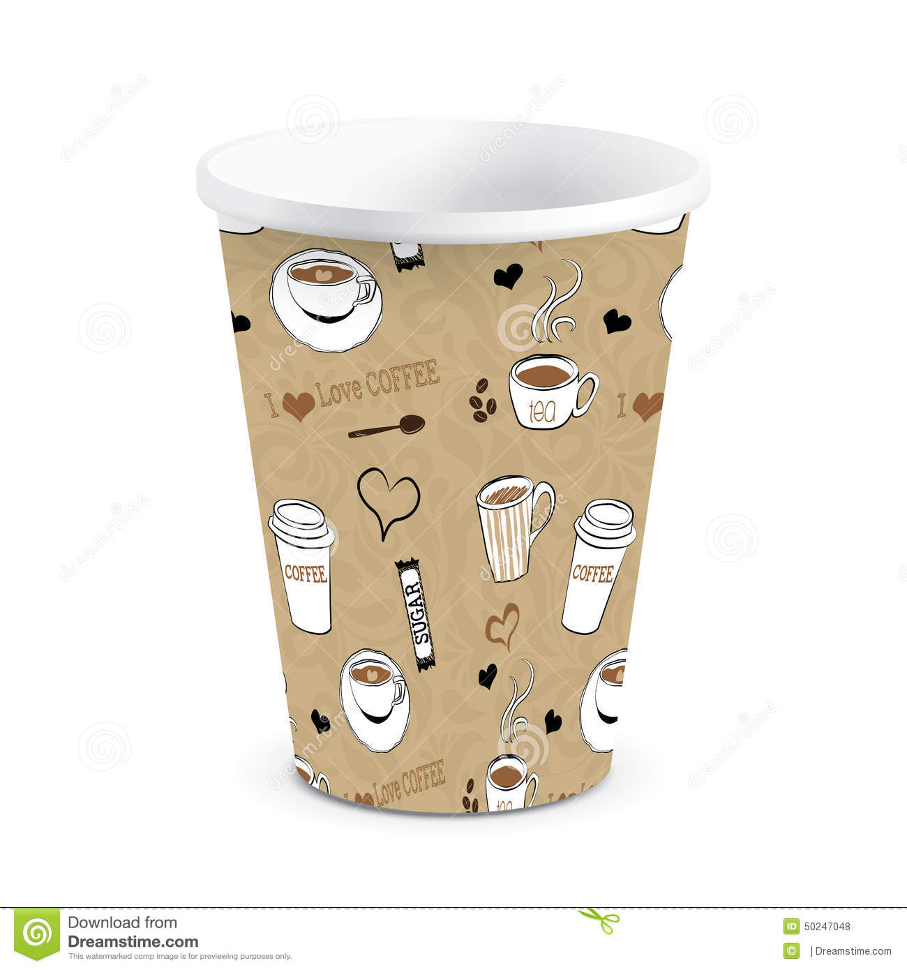 Paper Coffee Cup Vector Printed Illustration Stock And Decorating Ideas