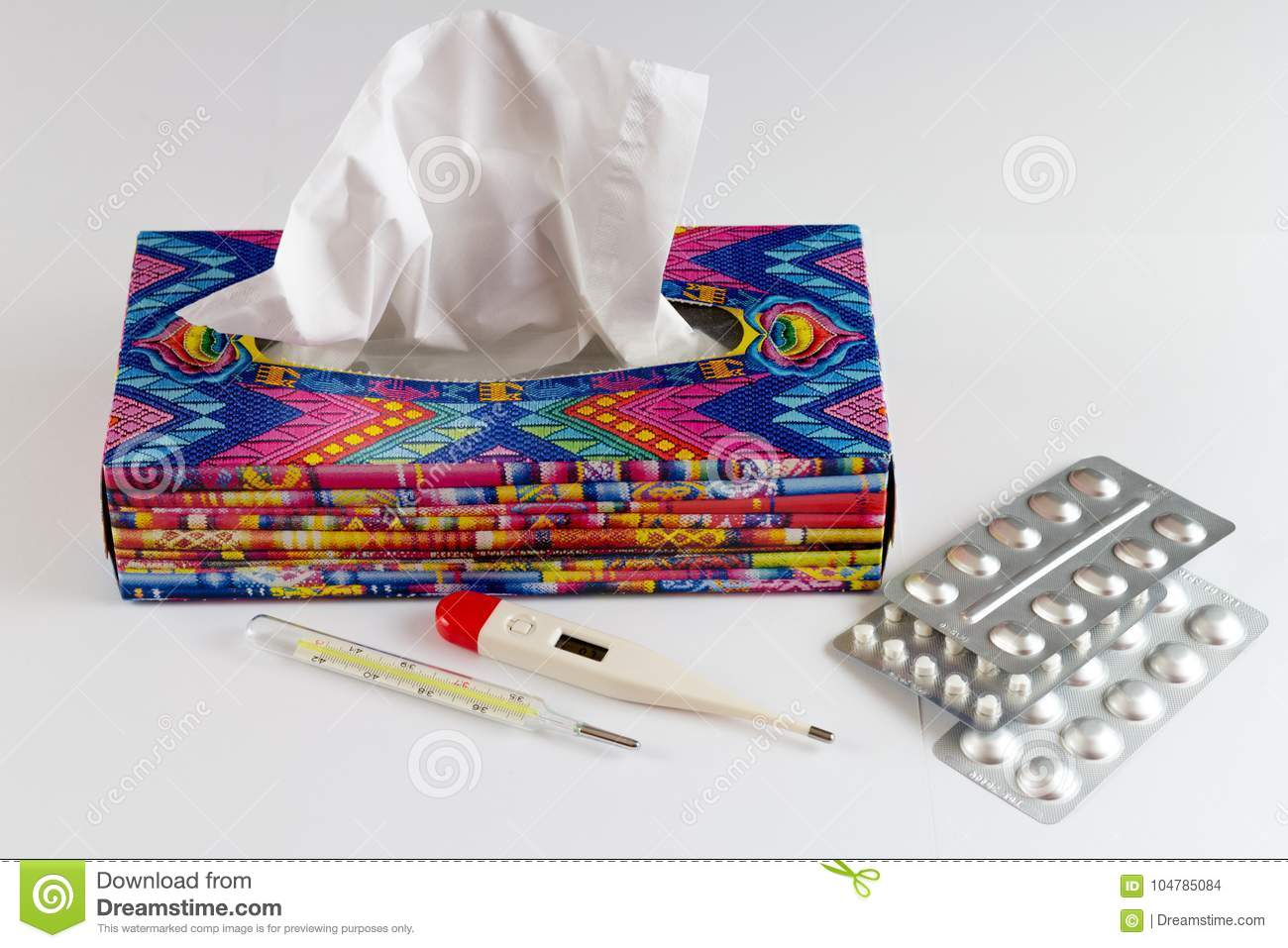 Disposable hygienics wipes in a colored box
