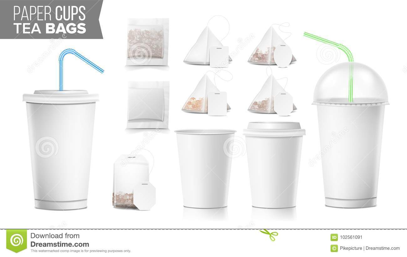 Disposable Paper Cups And Tea Bags Set Vector Plastic Covers Take Out Soft