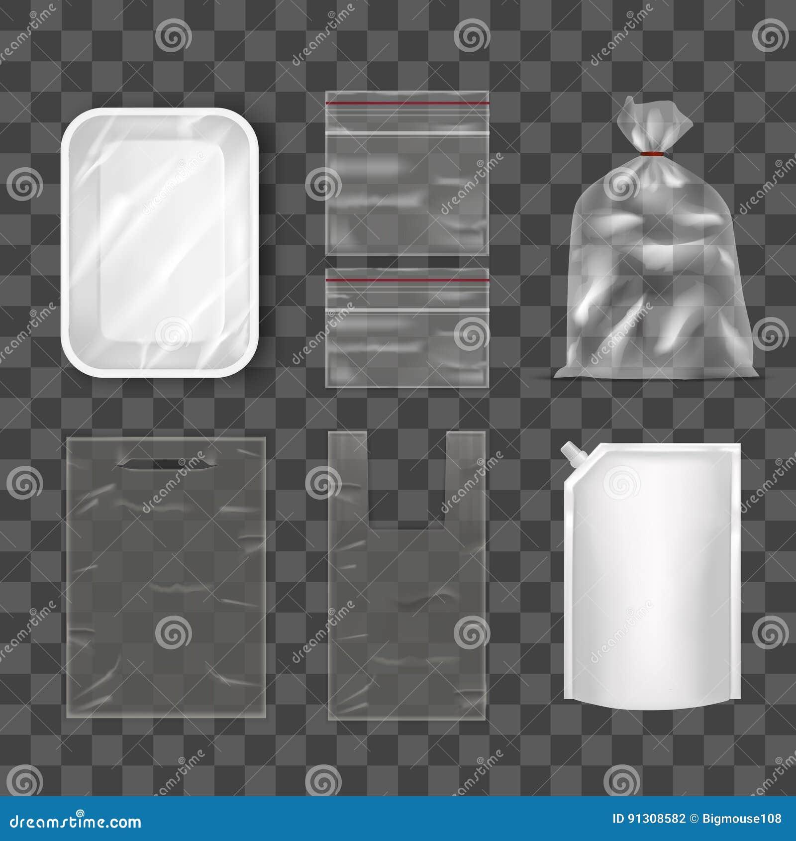 Disposable Plastic Bag Package Set on Transparent Background. Vector