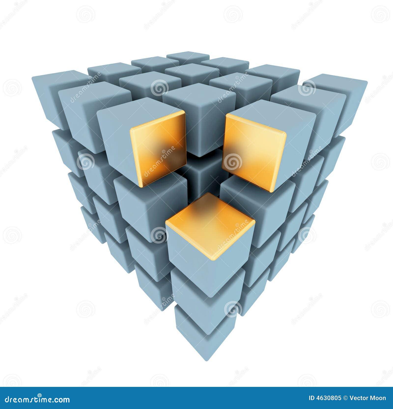 Disposição abstrata das caixas