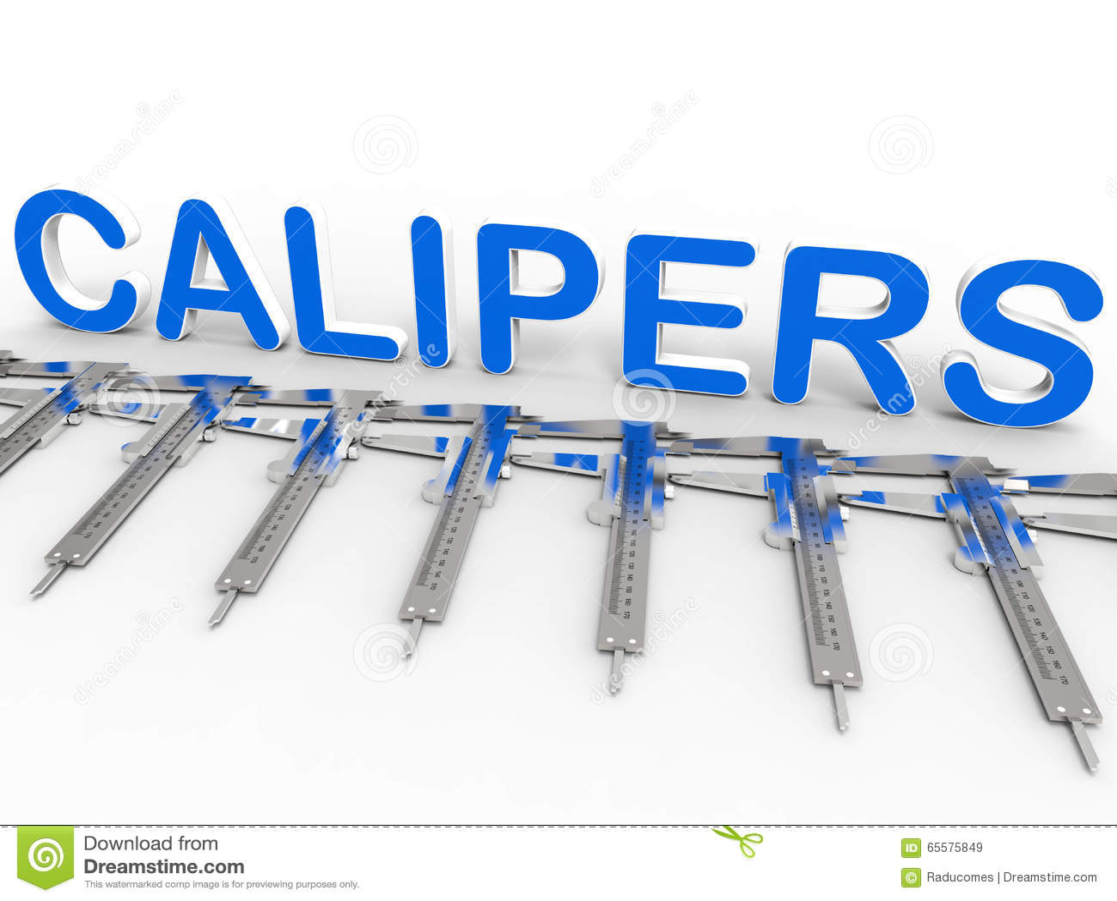 Disposição azul dos compassos de calibre