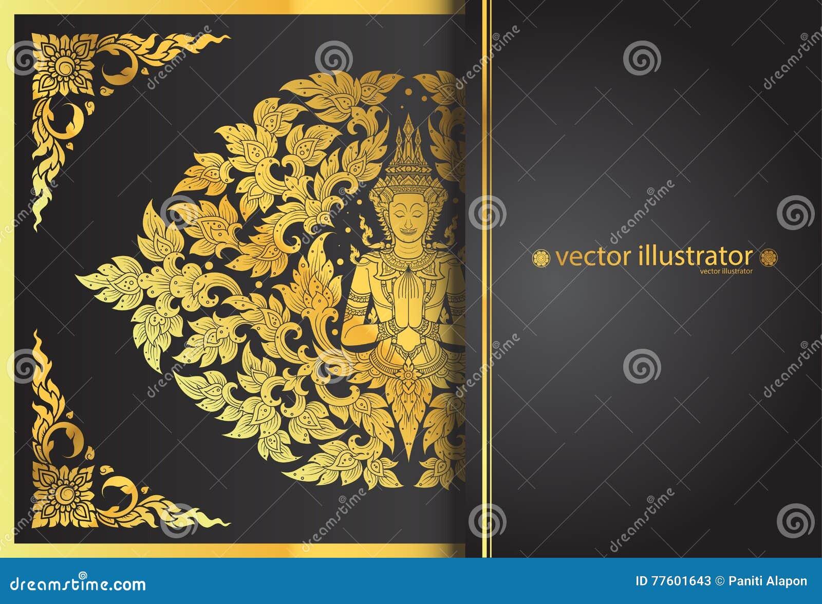 Disposição buddha e linha tradição tailandesa da flor