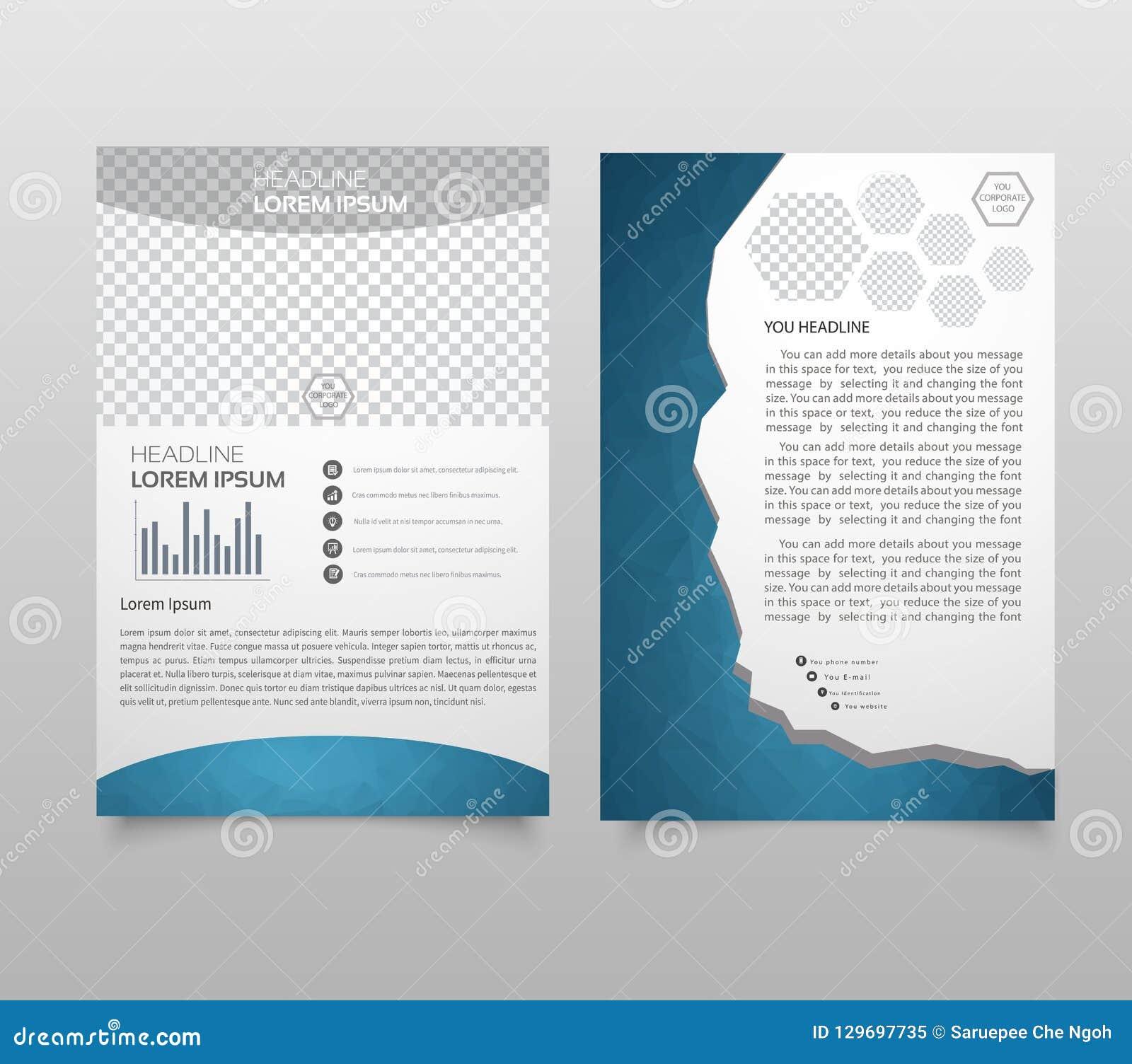 Disposição do molde do folheto, informe anual do projeto da tampa, compartimento, inseto, brochura do folheto no A4 com tex color
