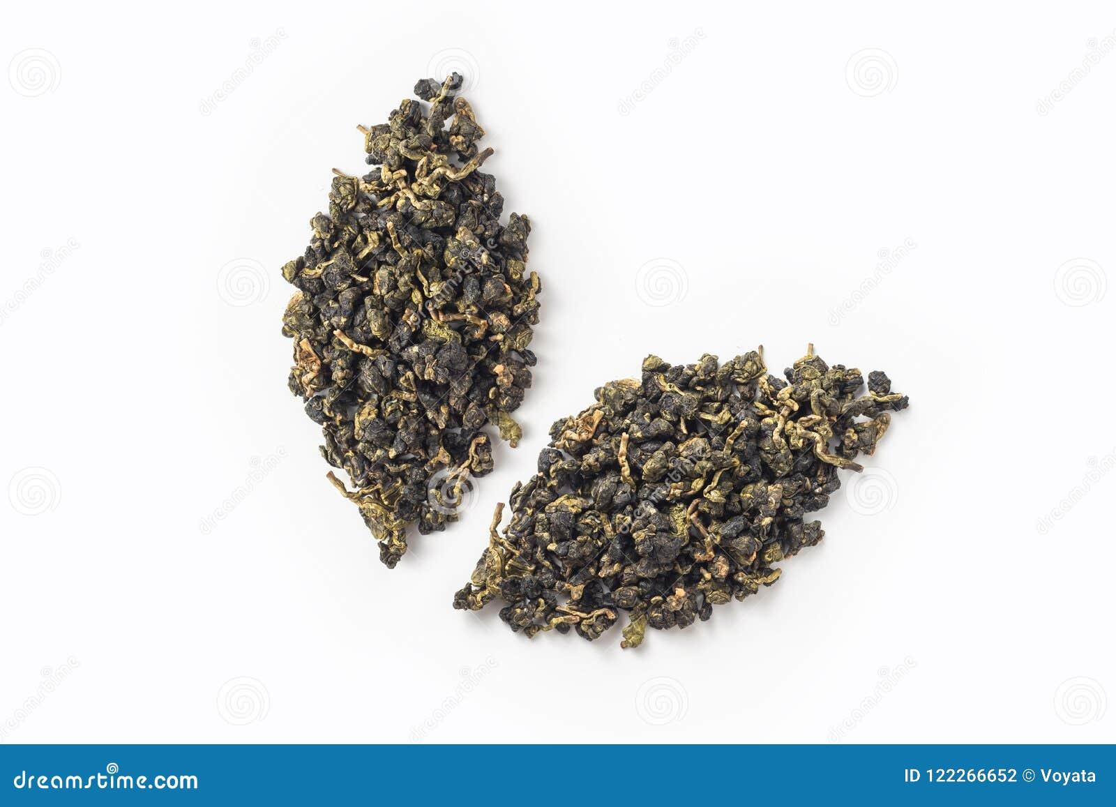 Disposição seca do botão do chá fresco do oolong de Formosa como o ícone das folhas
