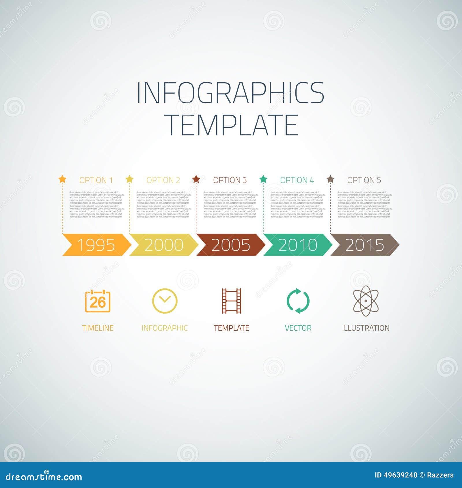 Disposición de la plantilla de las flechas de la cronología de Infographic del web