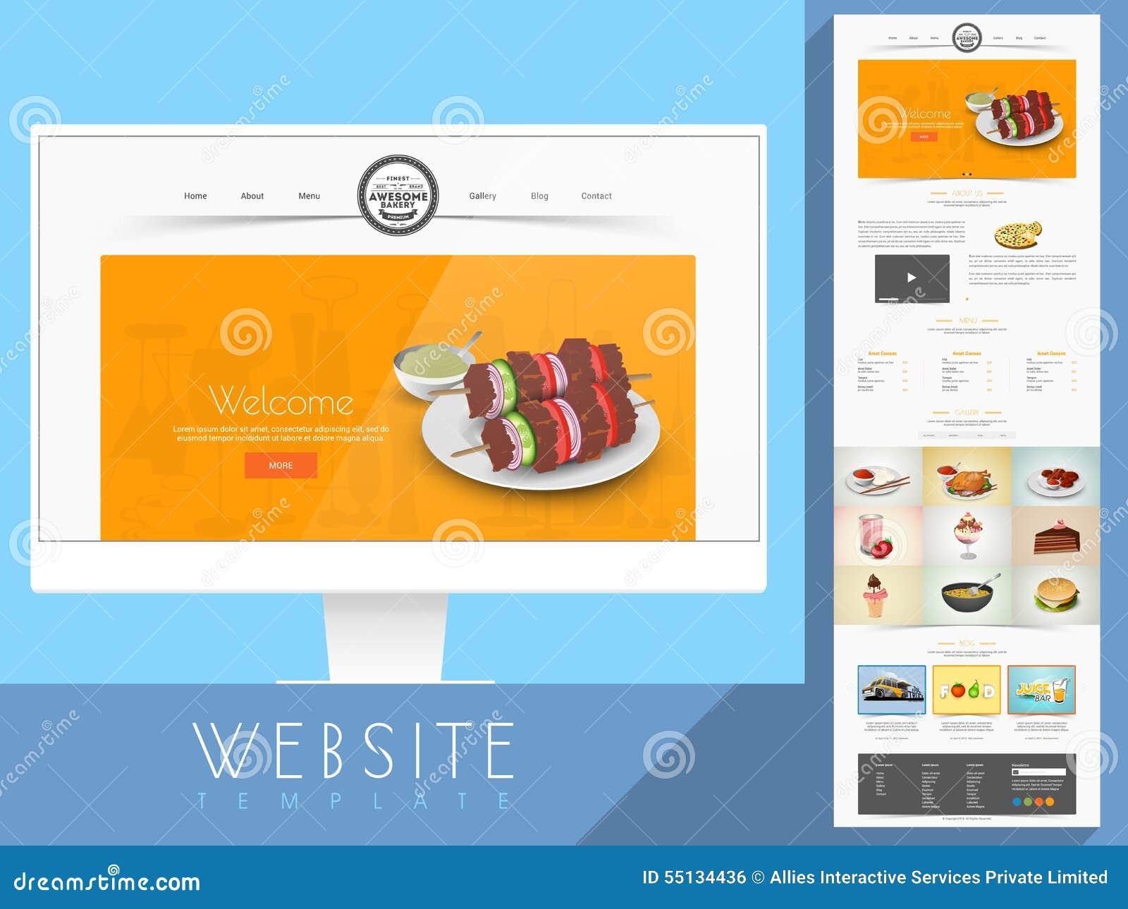 Disposición De La Plantilla Del Sitio Web Para La Panadería O El ...