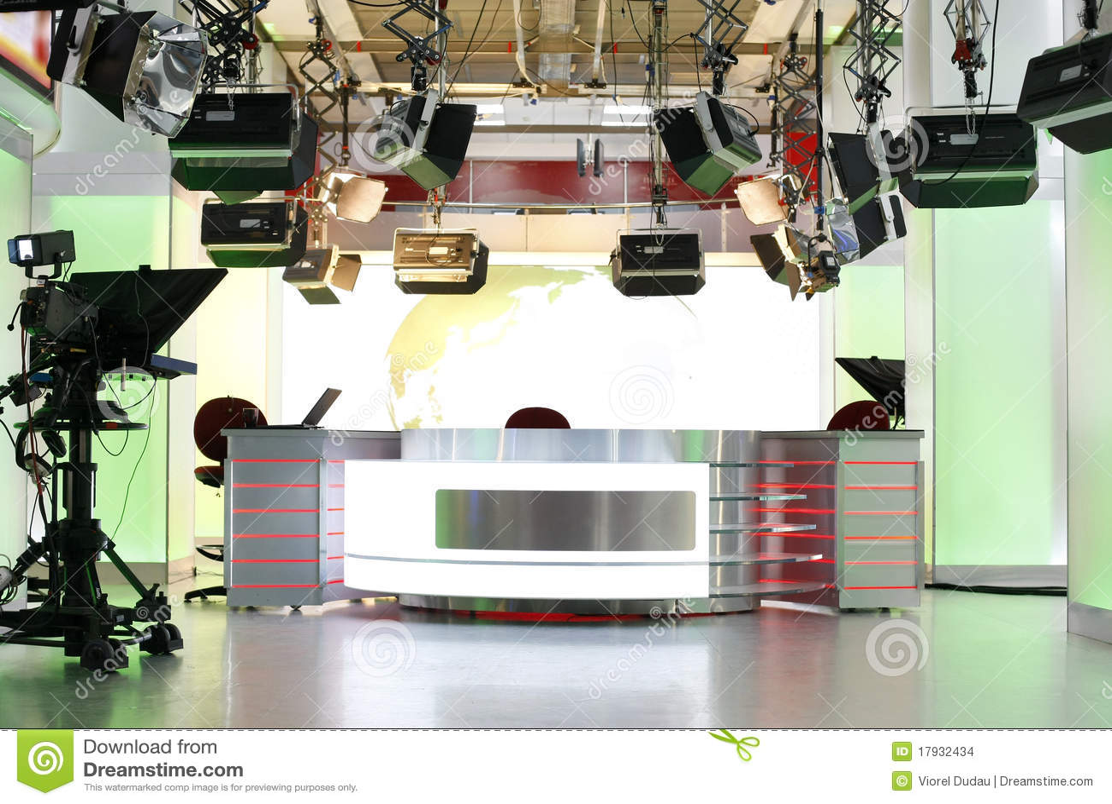 Disposición del estudio de las noticias de la TV