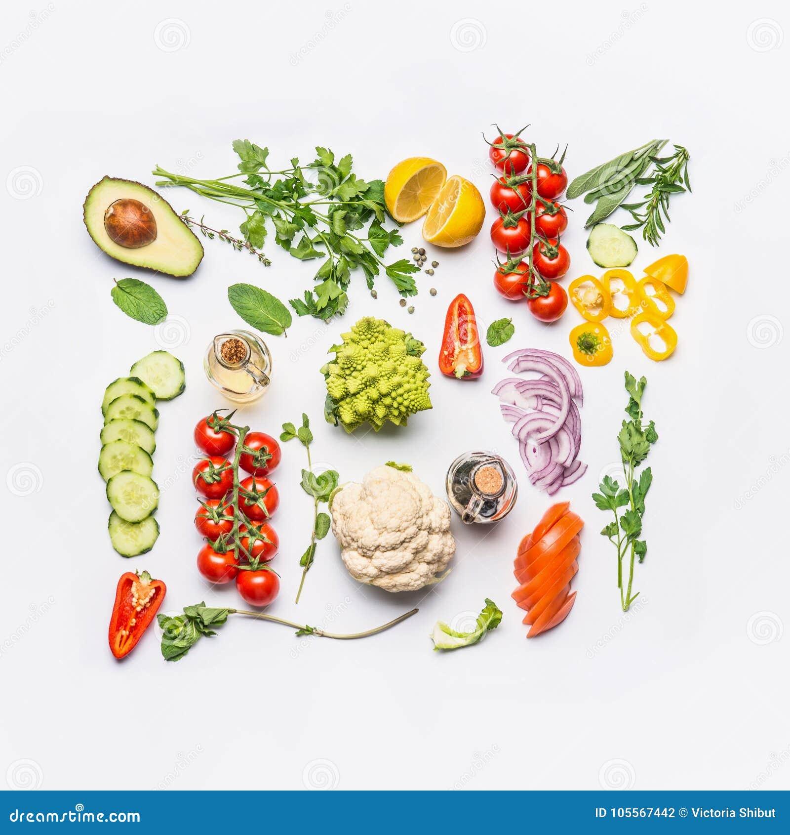 Disposición limpia sana de la consumición, comida vegetariana y concepto de la nutrición de la dieta Diversos ingredientes de las