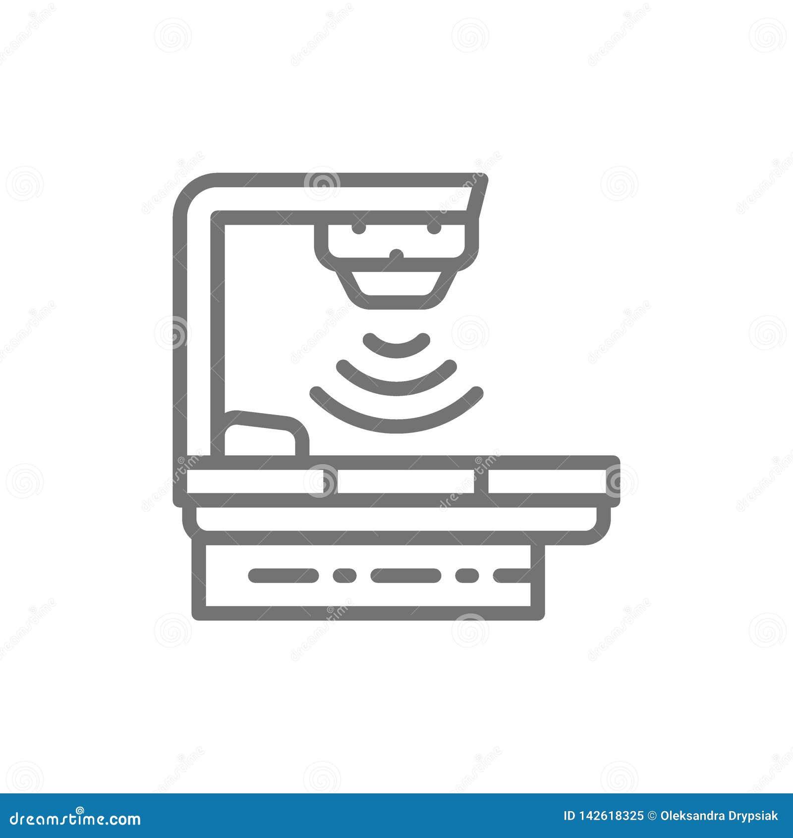 Dispositif de traitement contre le cancer, thérapie radiologique, matériel médical, ligne icône de radiothérapie