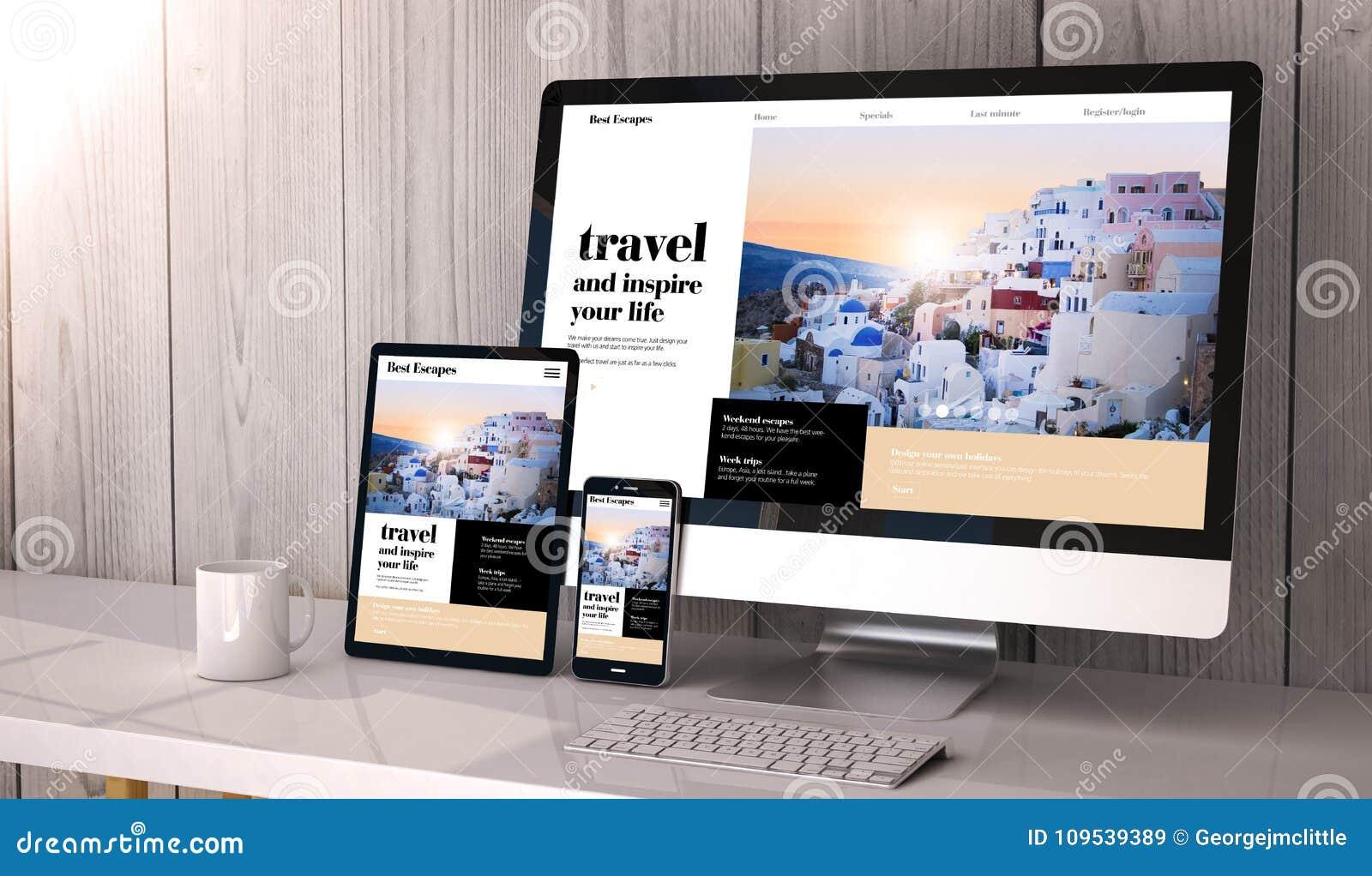 Dispositifs sensibles sur la conception de site Web de voyage d espace de travail