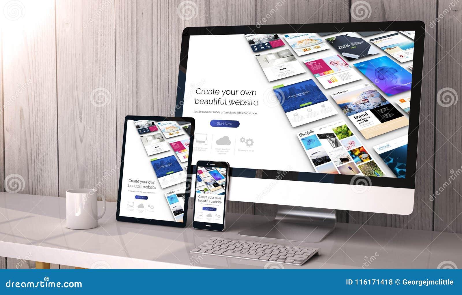 Dispositifs sensibles sur le constructeur de site Web d espace de travail