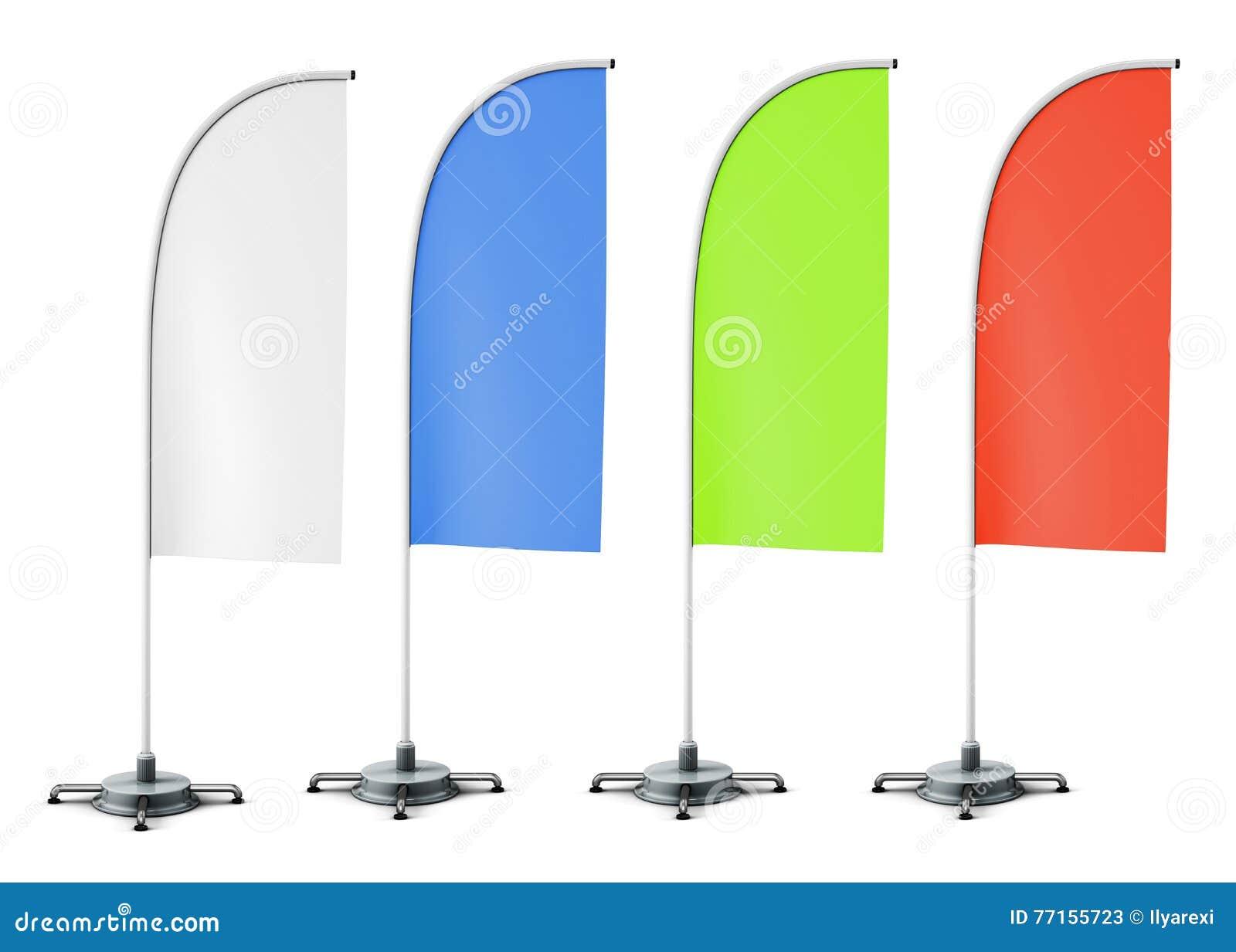 Disposition des drapeaux promotionnels de supports de différentes couleurs Blanc, b