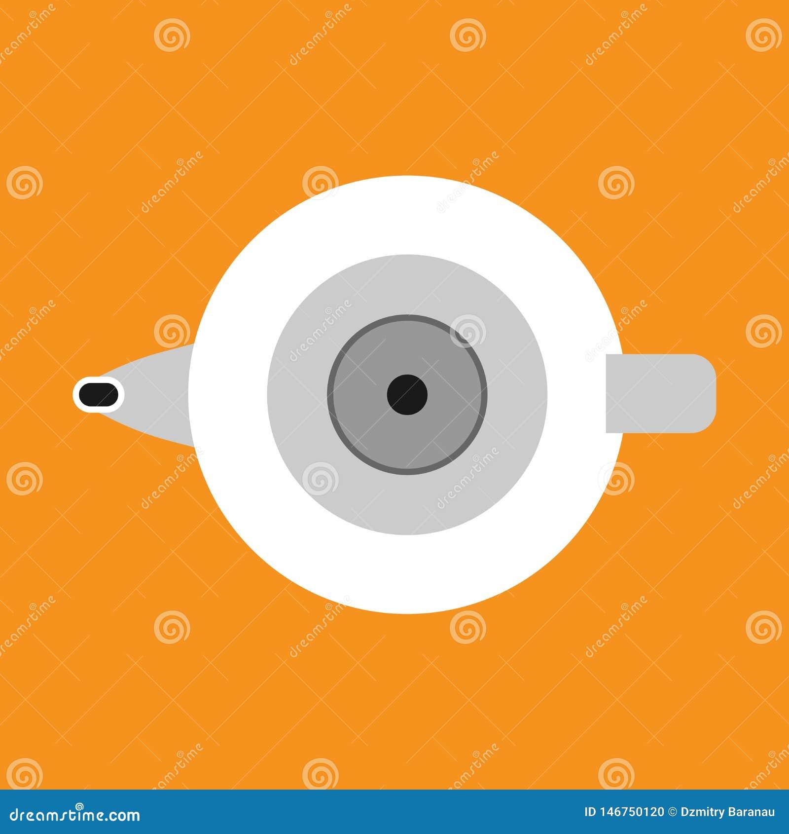 Dispositivo de la manija de la cocina del icono del vector de la caldera Ebullición del pote del té de la historieta Agua del ute