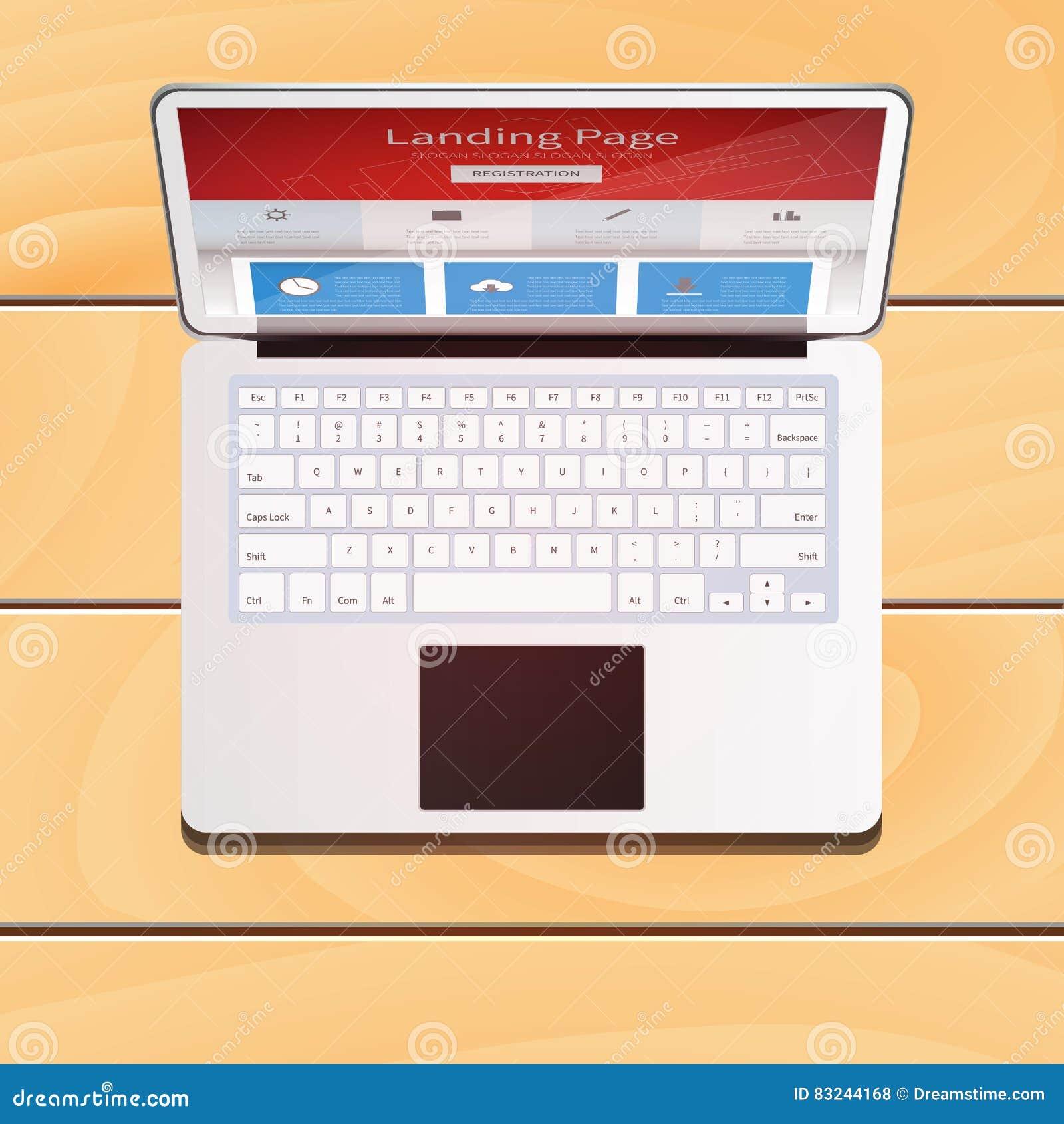 Dispositivo del ordenador portátil de Digitaces con la pantalla de la página del aterrizaje en woode