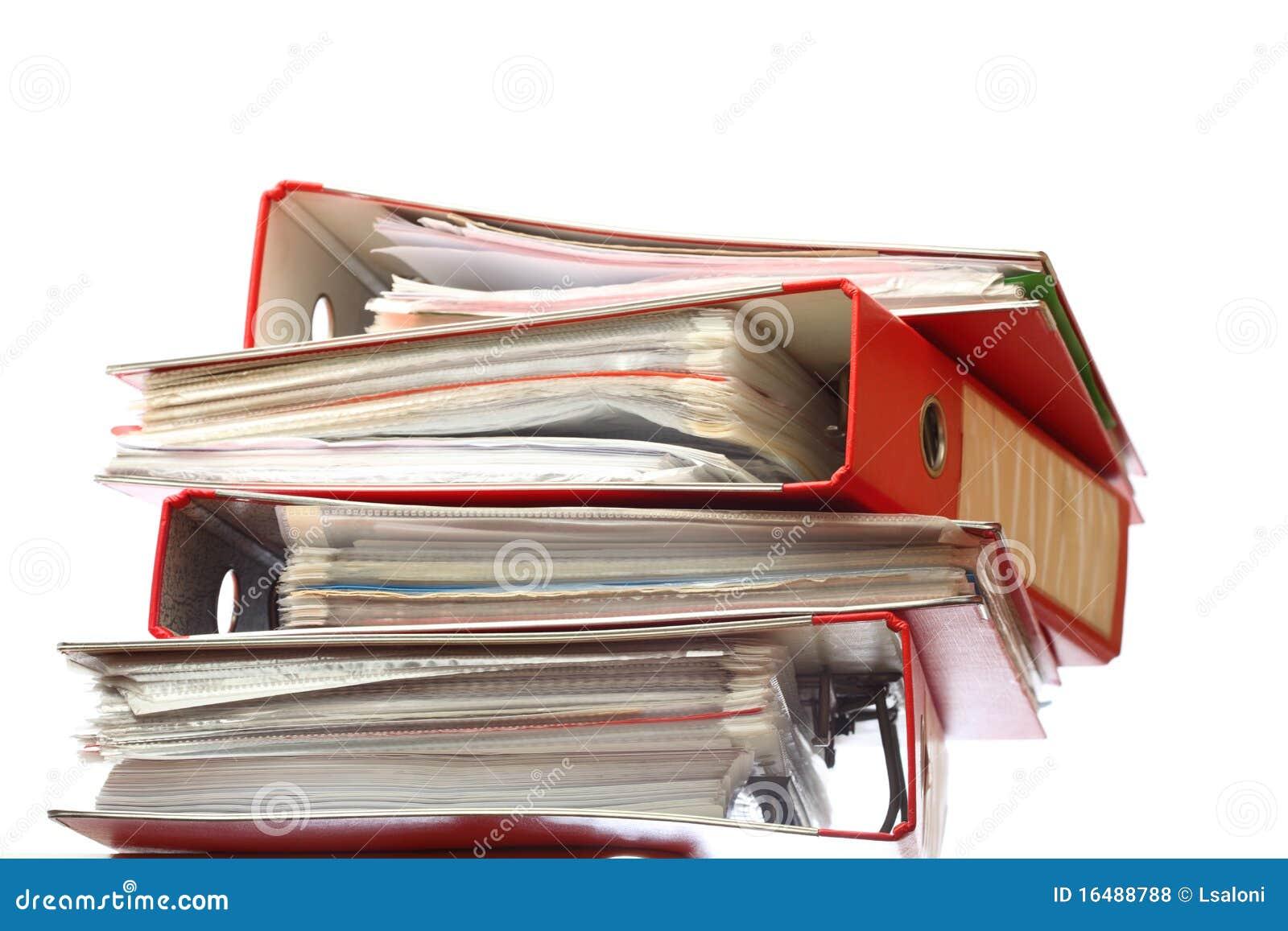 Dispositivo di piegatura rosso dell ufficio dell archivio della pila