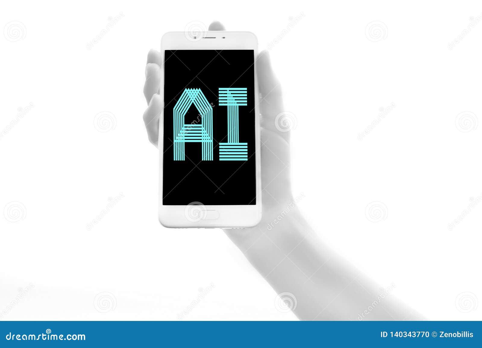 Dispositivo eletrónico biônico humano da terra arrendada da mão no fundo branco Conceito futurista da inteligência artificial