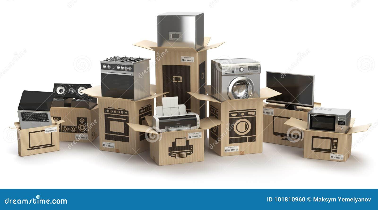 Dispositivos e electrónica do lar de cozinha do agregado familiar no isola das caixas