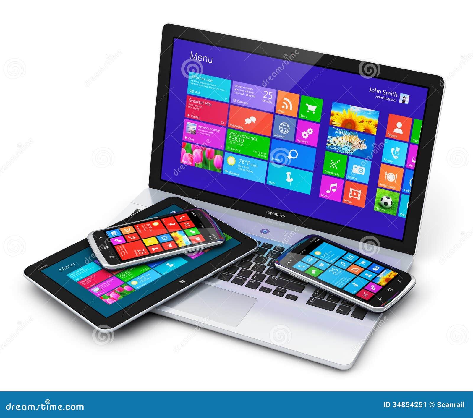 Dispositivos móviles con el interfaz de la pantalla táctil