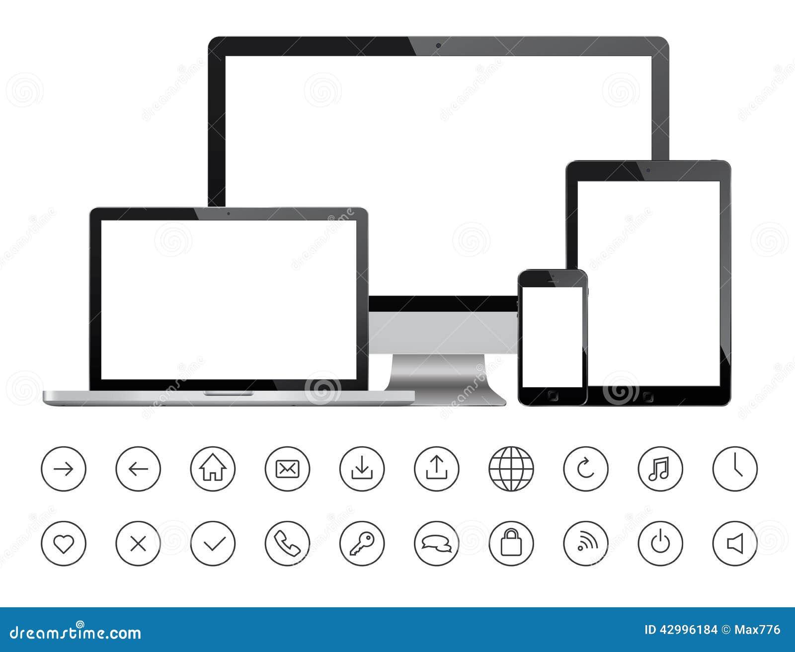 Dispositivos móviles e iconos minimalistic