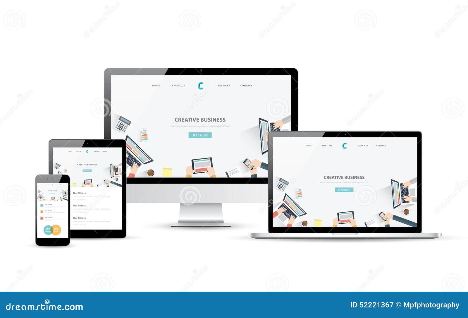Dispositivos responsivos do design web e do vetor do desenvolvimento do Web site