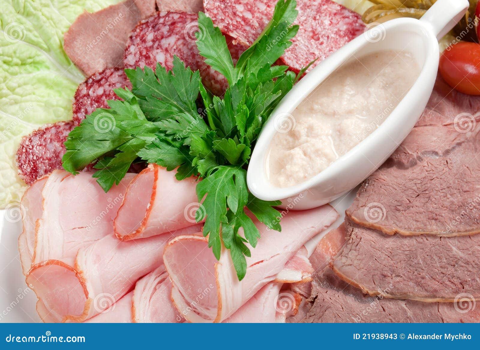 Disposizione affettata della carne e della salsiccia dell for Disposizione della casa libera