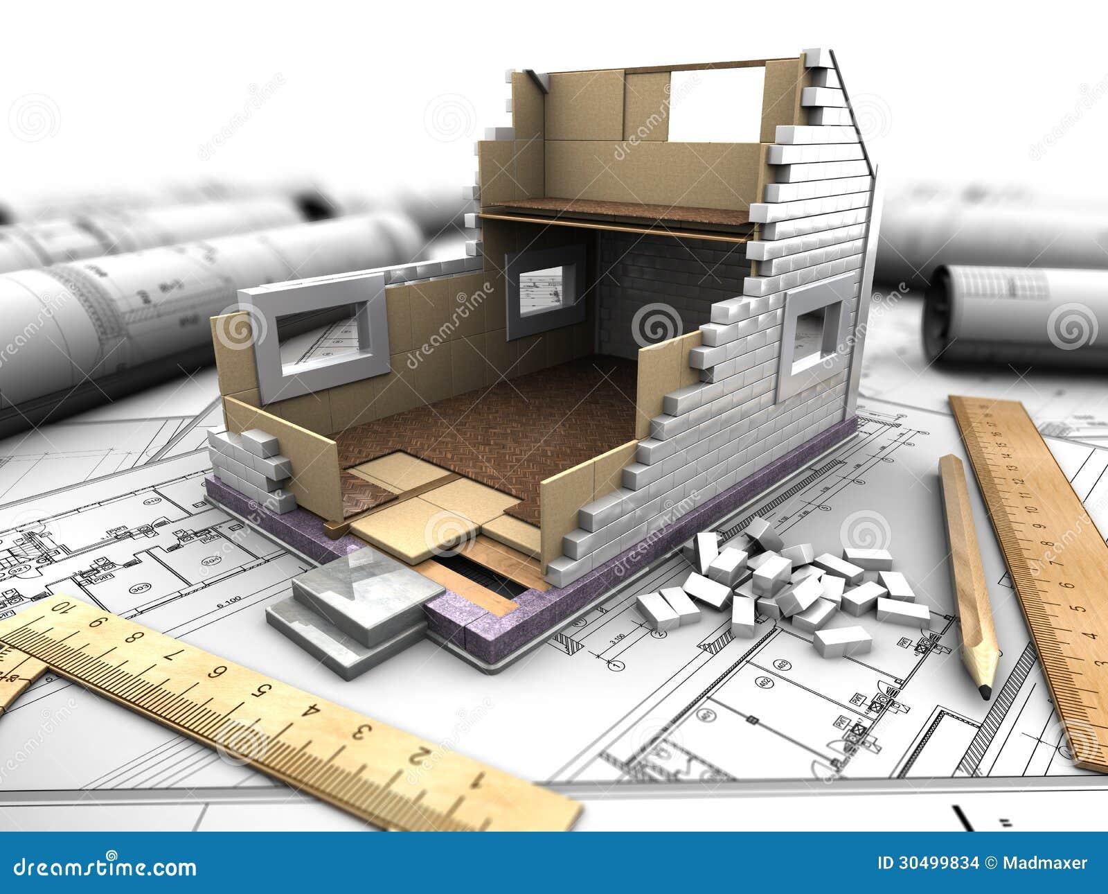 disposizione della casa e dei modelli immagini stock