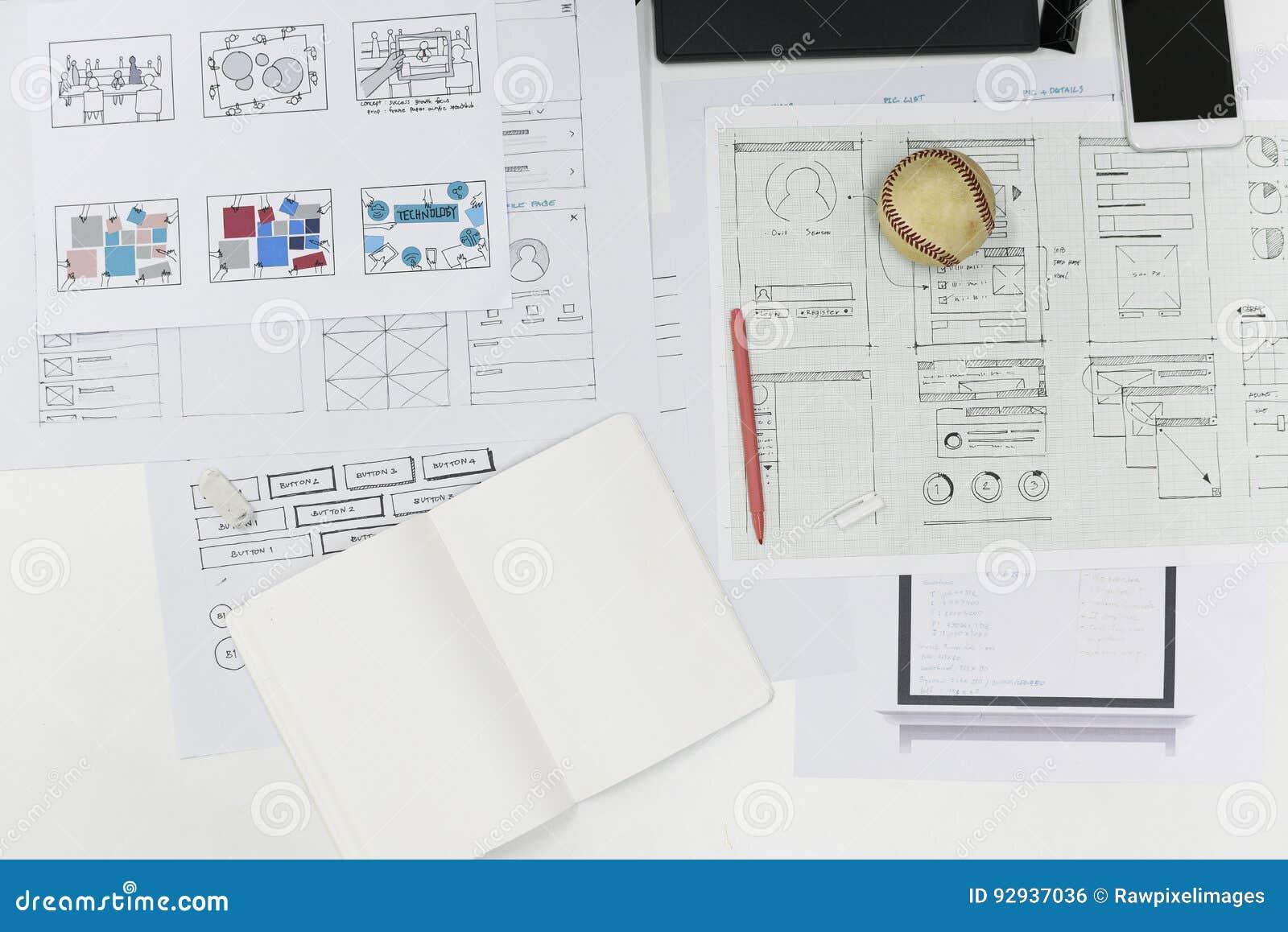 Disposizione di progettazione del contenuto del sito Web della giovane impresa su carta