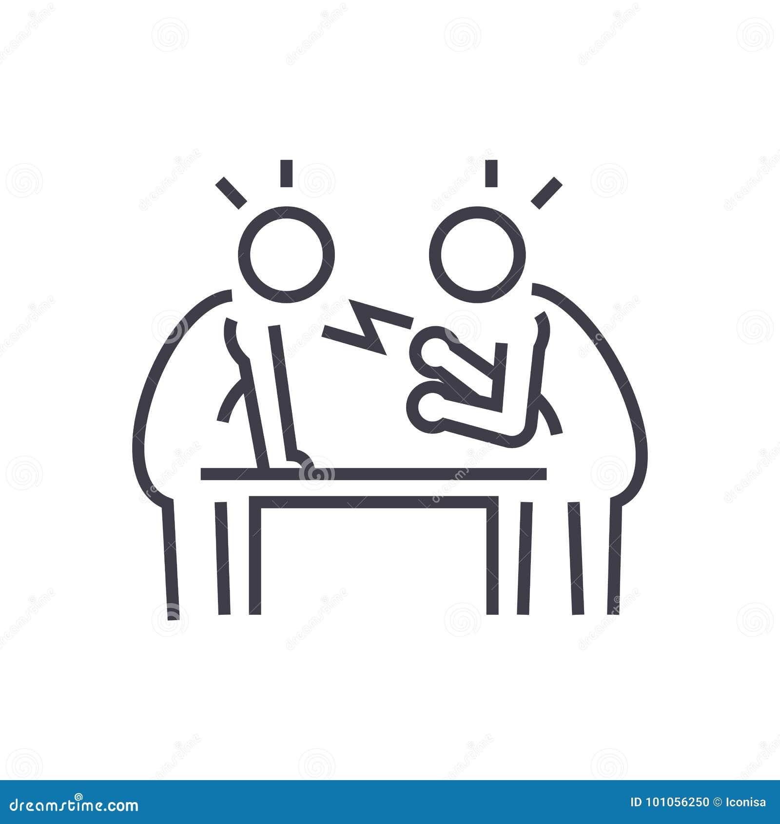 Disputa, debate, linha ícone do vetor da conversação, sinal, ilustração no fundo, cursos editáveis