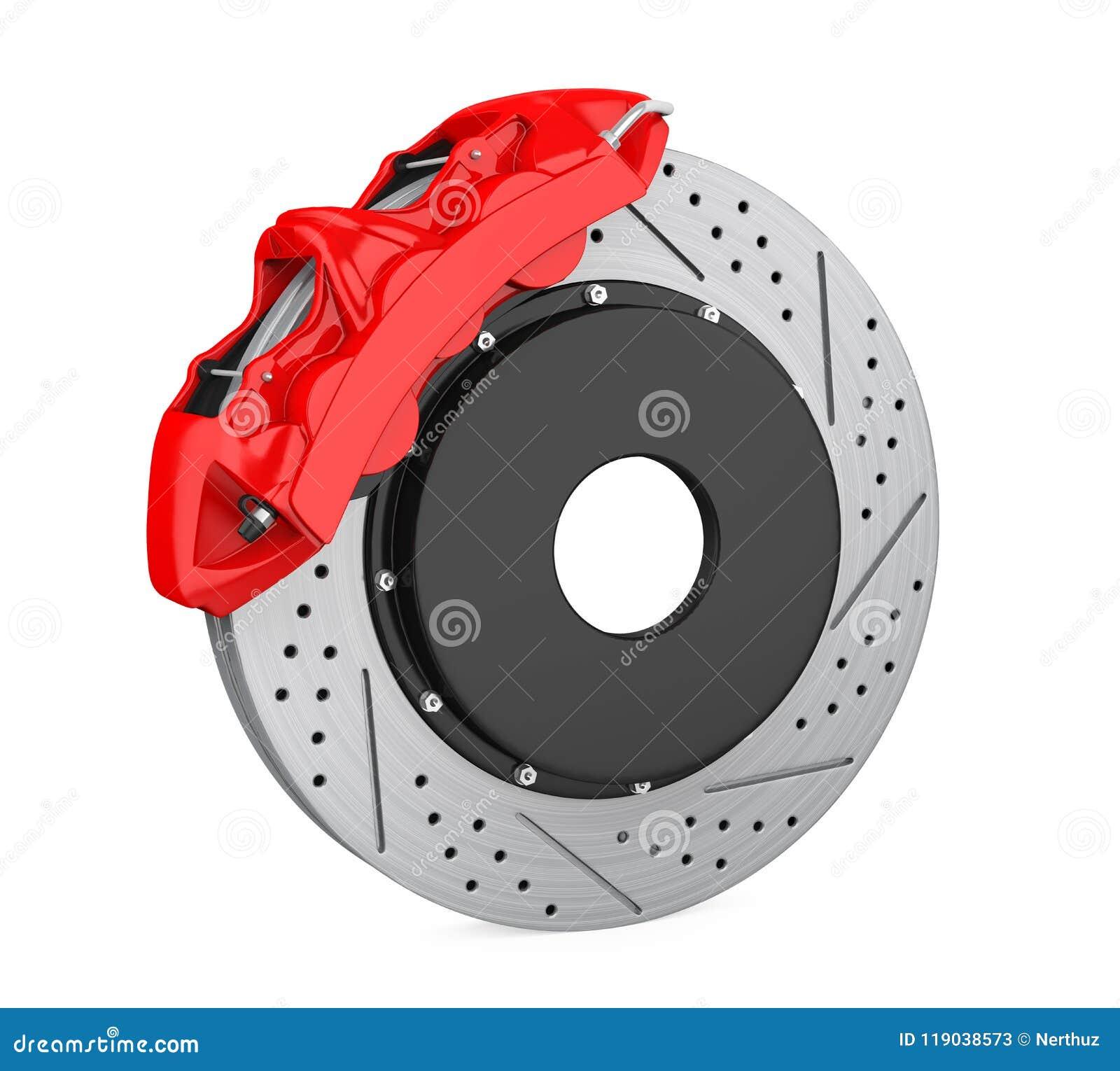 disque de frein de voiture et calibre rouge d 39 isolement illustration stock illustration du. Black Bedroom Furniture Sets. Home Design Ideas