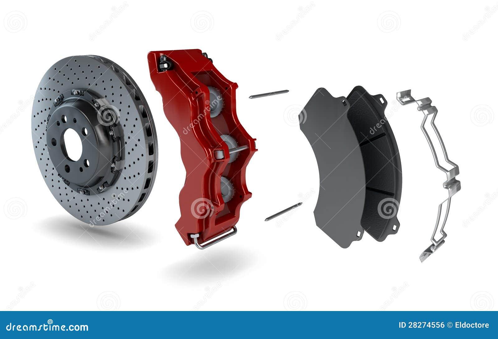 disque d sassembl de frein avec le calibre rouge d 39 une voiture de course image libre de droits. Black Bedroom Furniture Sets. Home Design Ideas