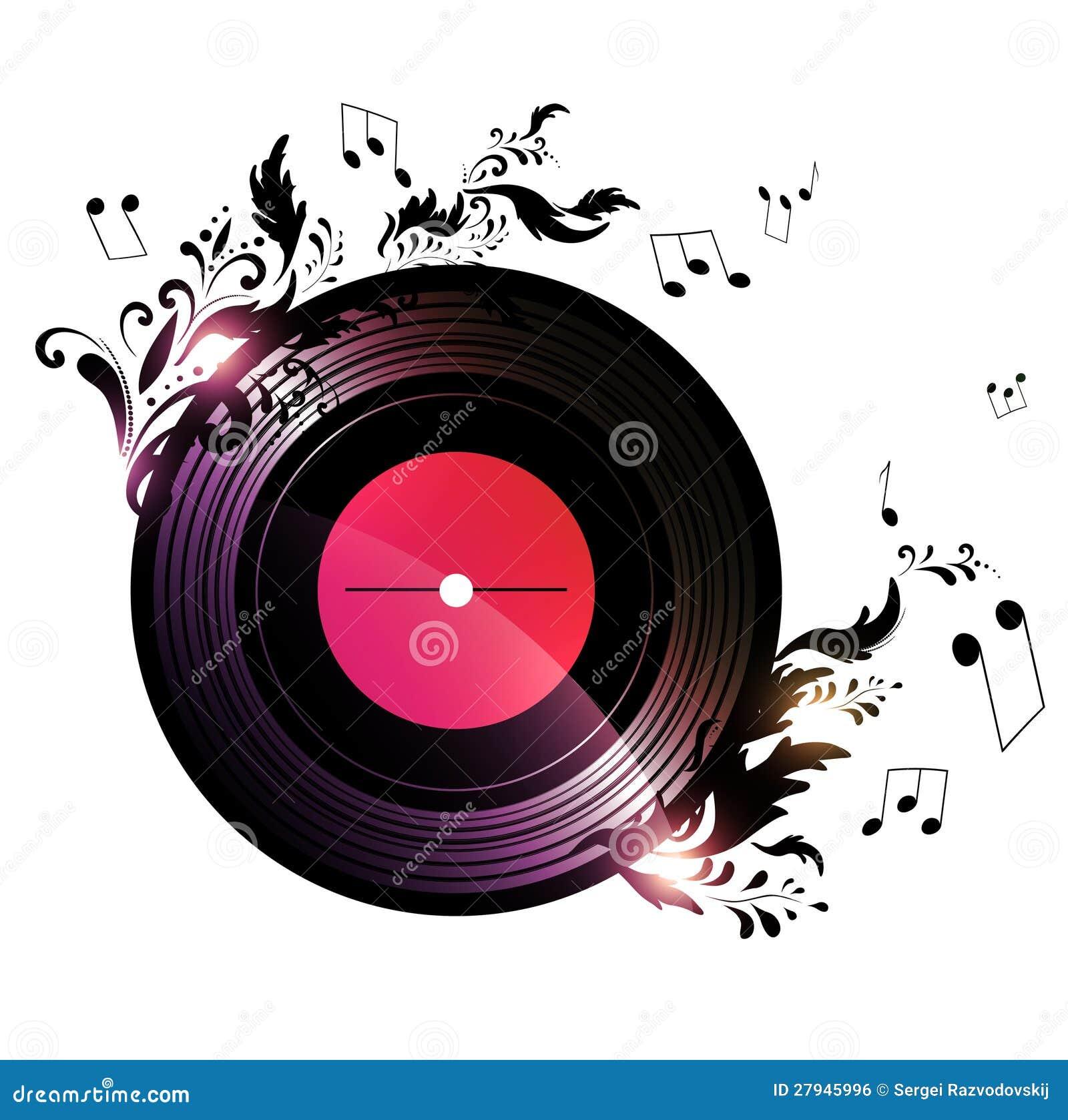 Disque vinyle avec la d coration florale de musique image libre de droits i - Decoration disque vinyle ...