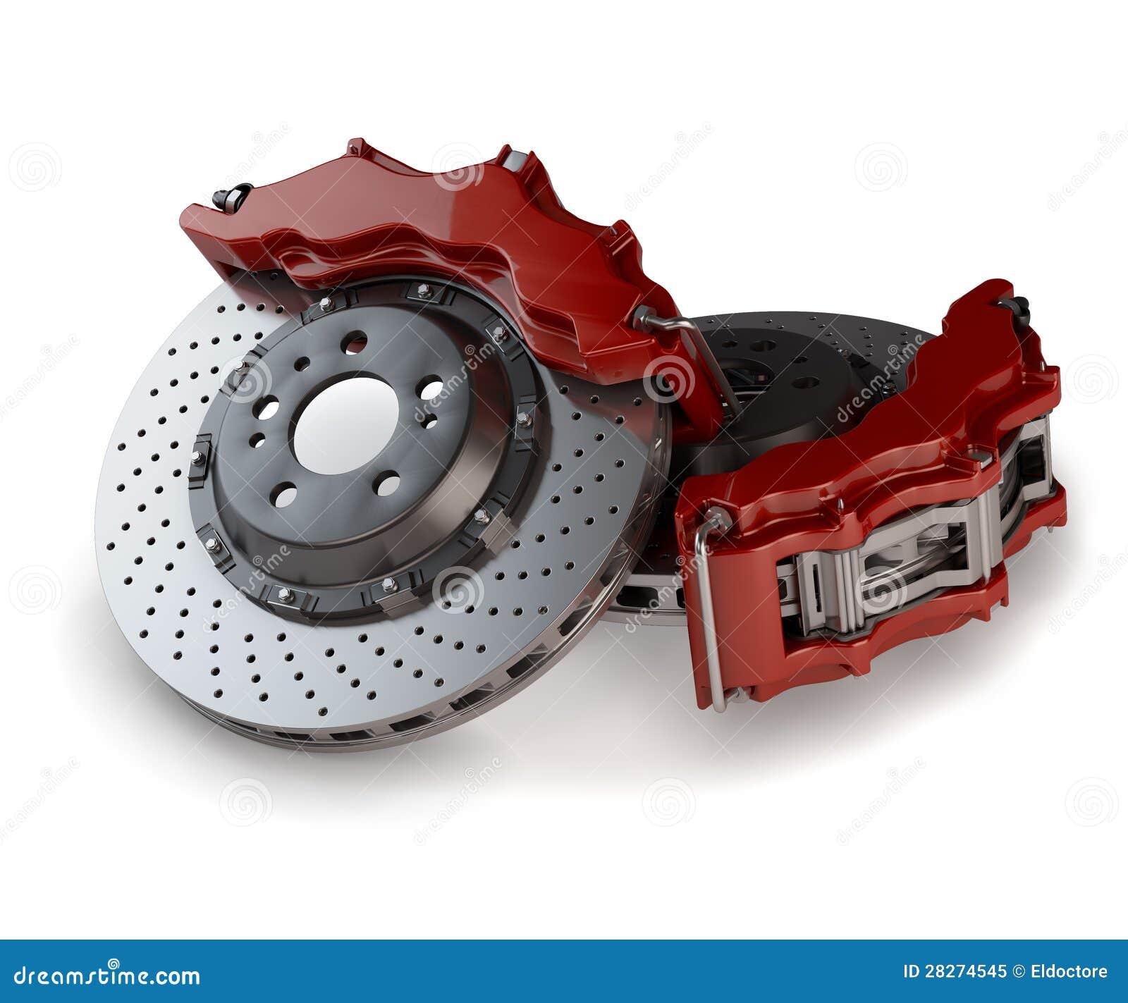 disques de frein avec des calibres rouges d 39 une voiture de course photo libre de droits image