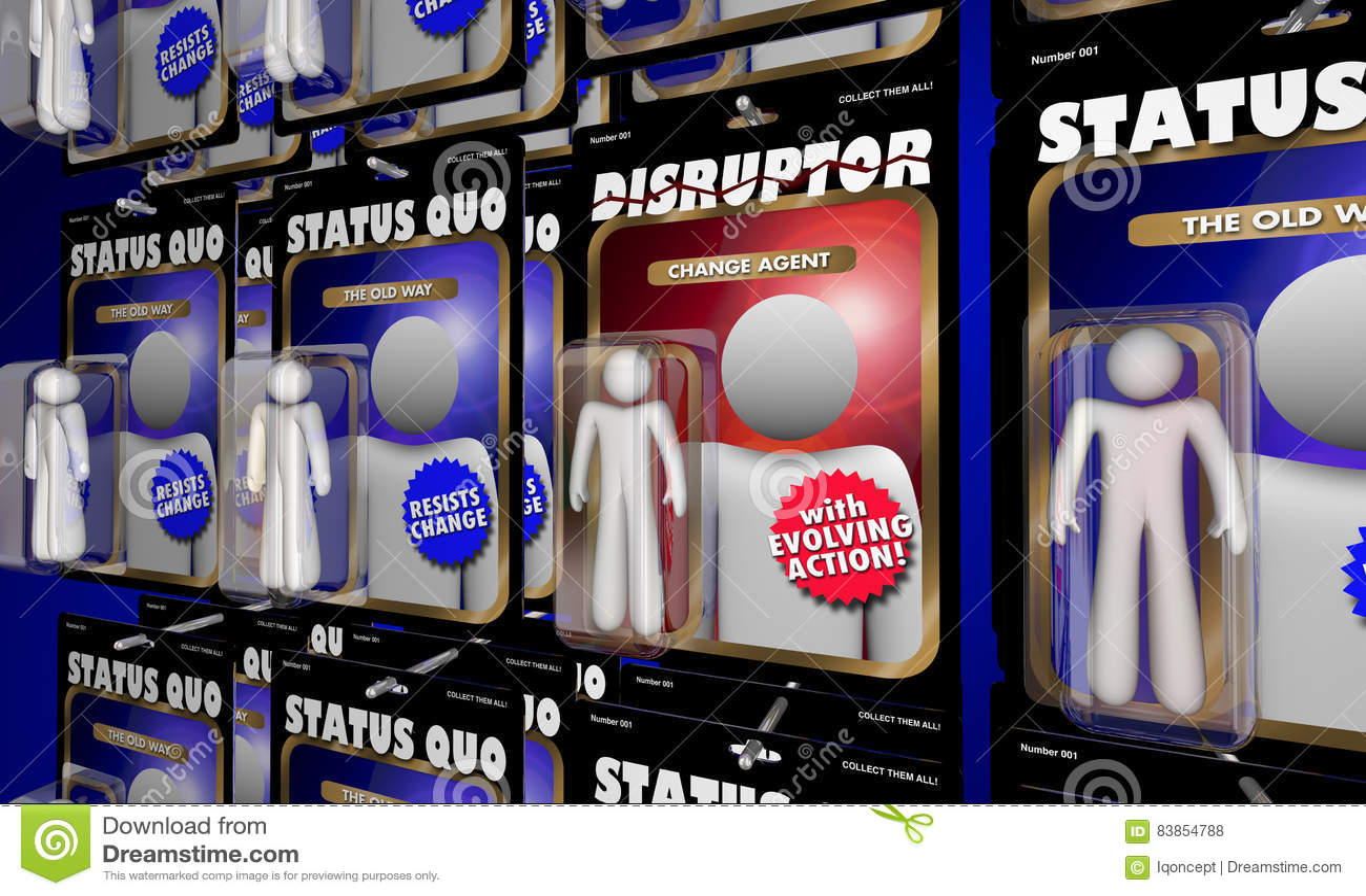 Disruptor akci postaci zmiany agent Vs status quo