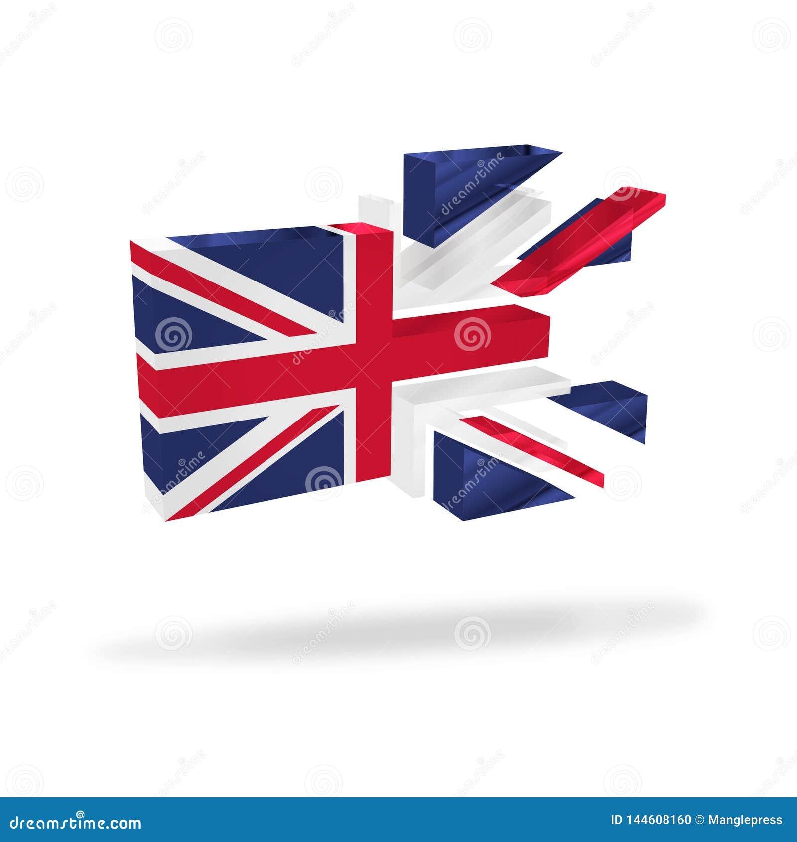 A dissolução britânica da bandeira do jaque de união quebra acima o referendo Brexit da independência