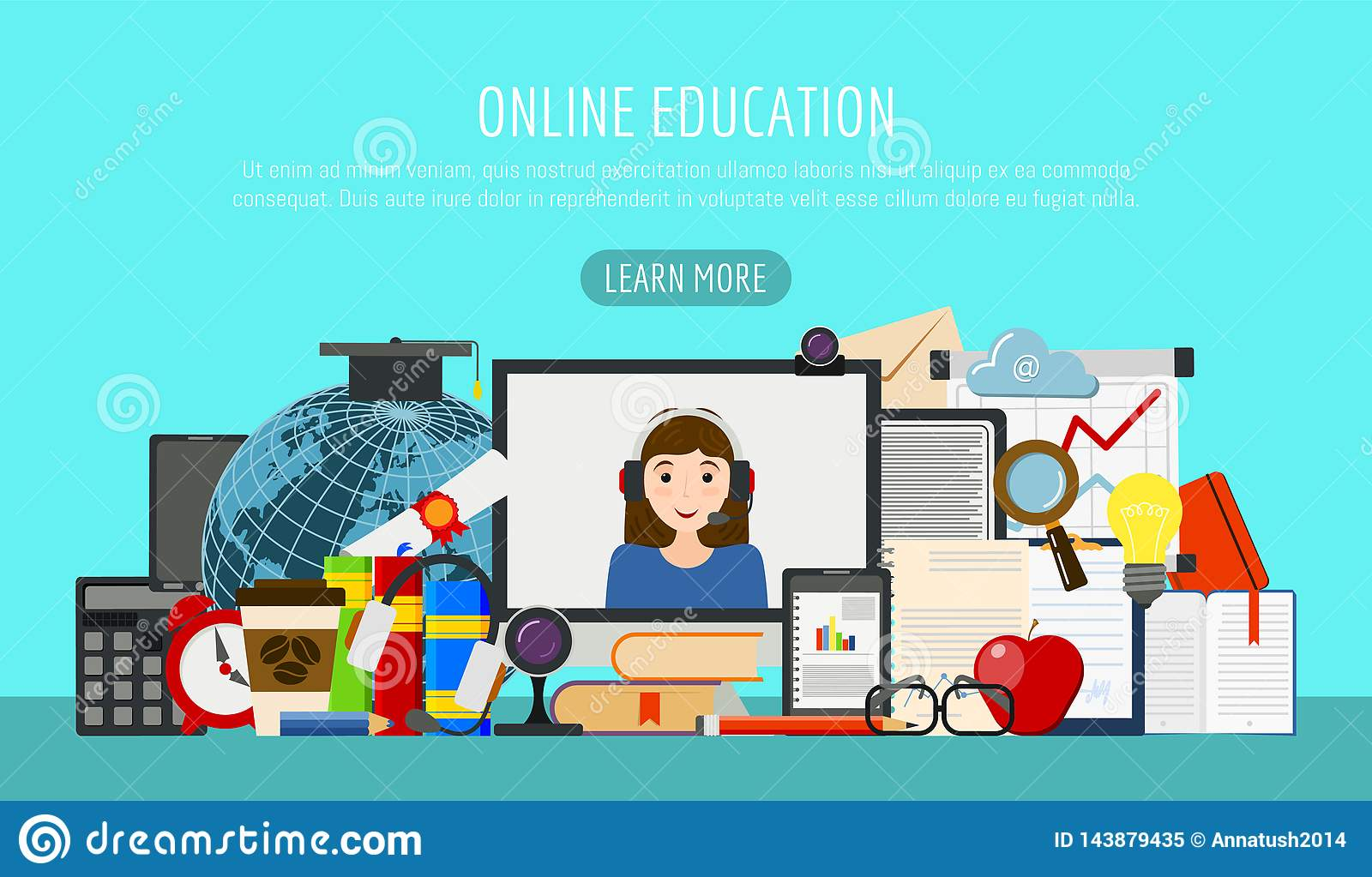 Distance Education Banner  Online Courses, E-learning, Tutorials