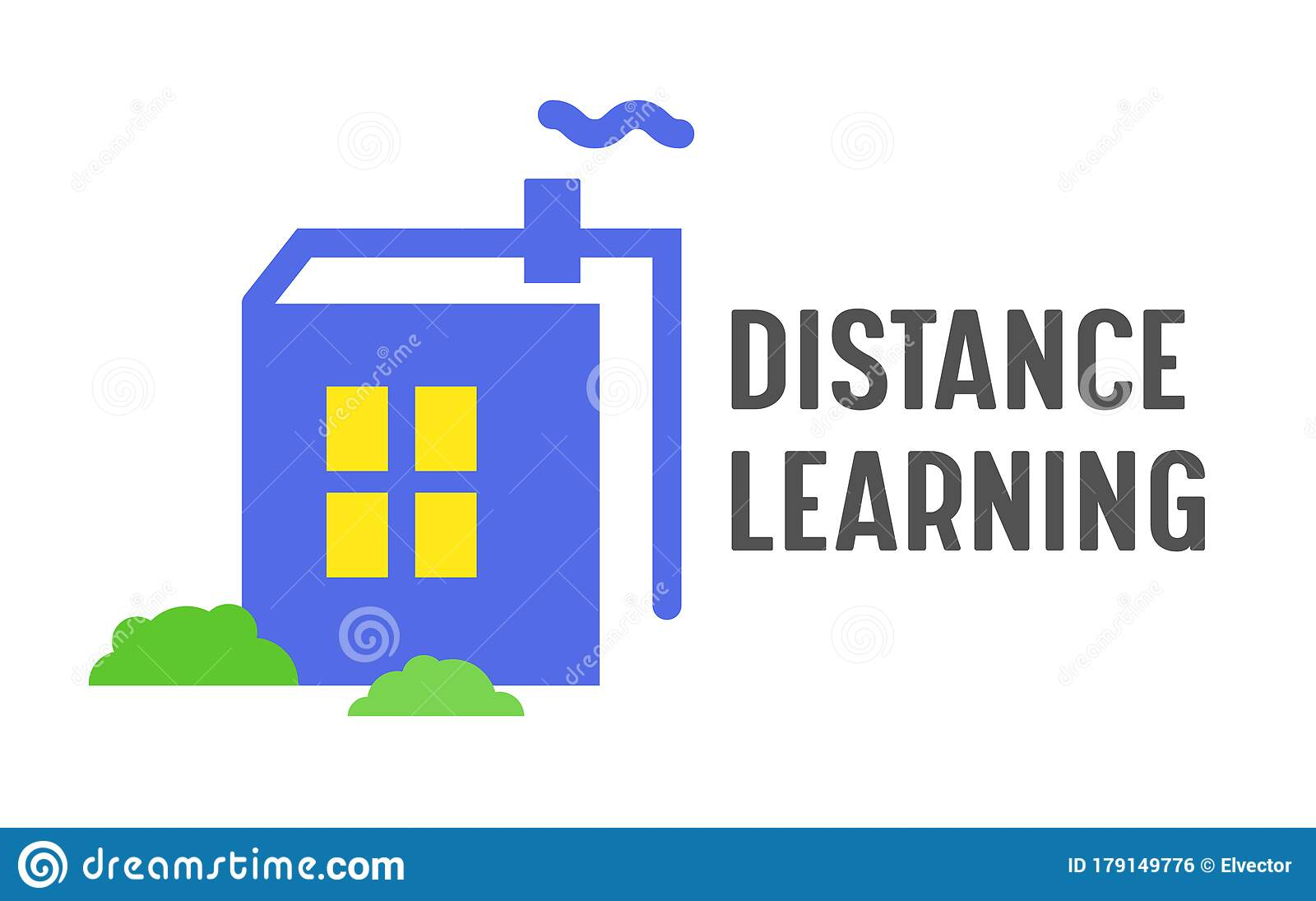 Distance Learning Banner Online Education Courses Homeschooling Concept Book In Shape Of House With Glowing Window Stock Vector Illustration Of Glowing Badge 179149776