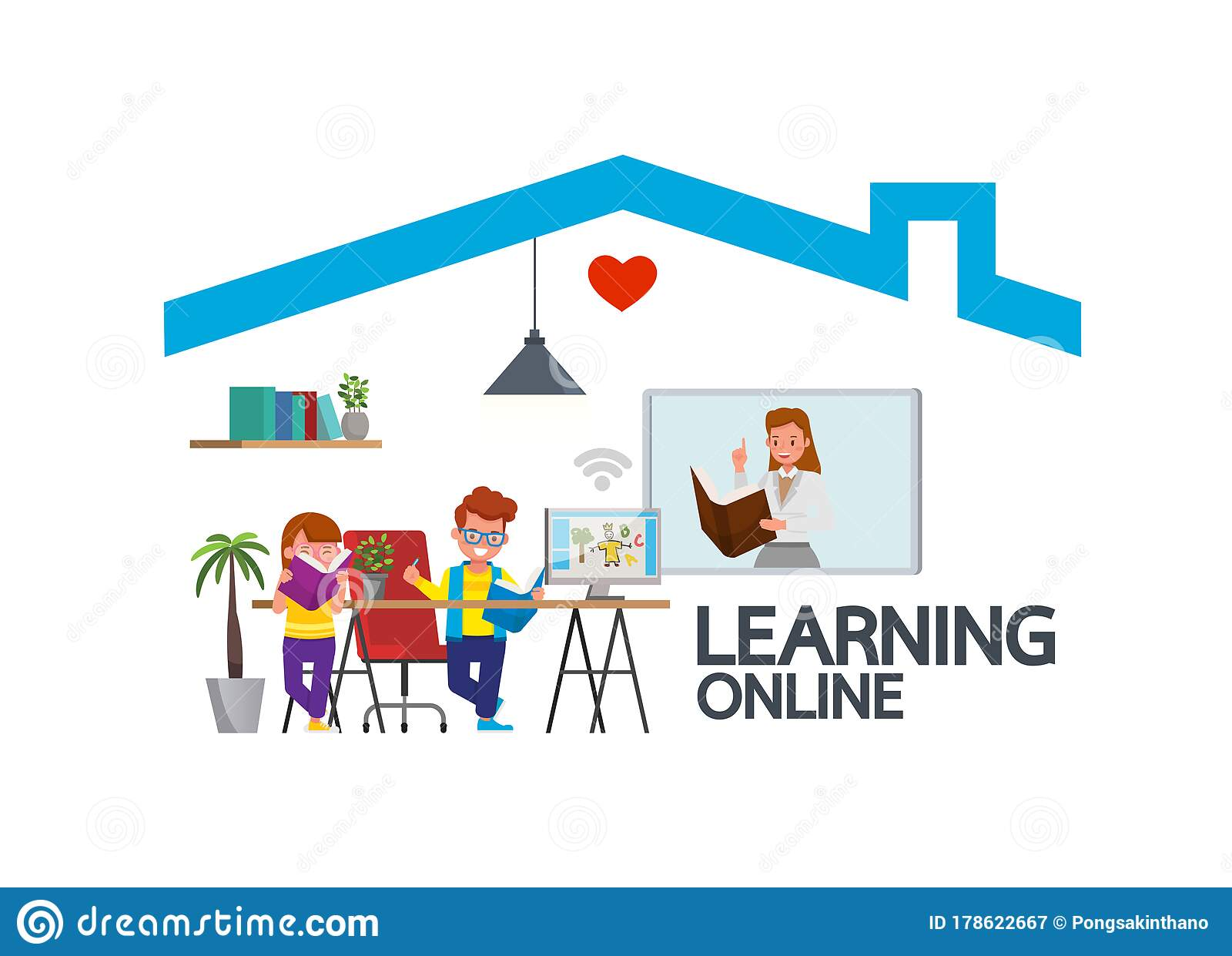 Distance Learning Online Education Classes For Children During Coronavirus Social Distancing Self Isolation And Stay At Home Stock Vector Illustration Of Information Homework 178622667