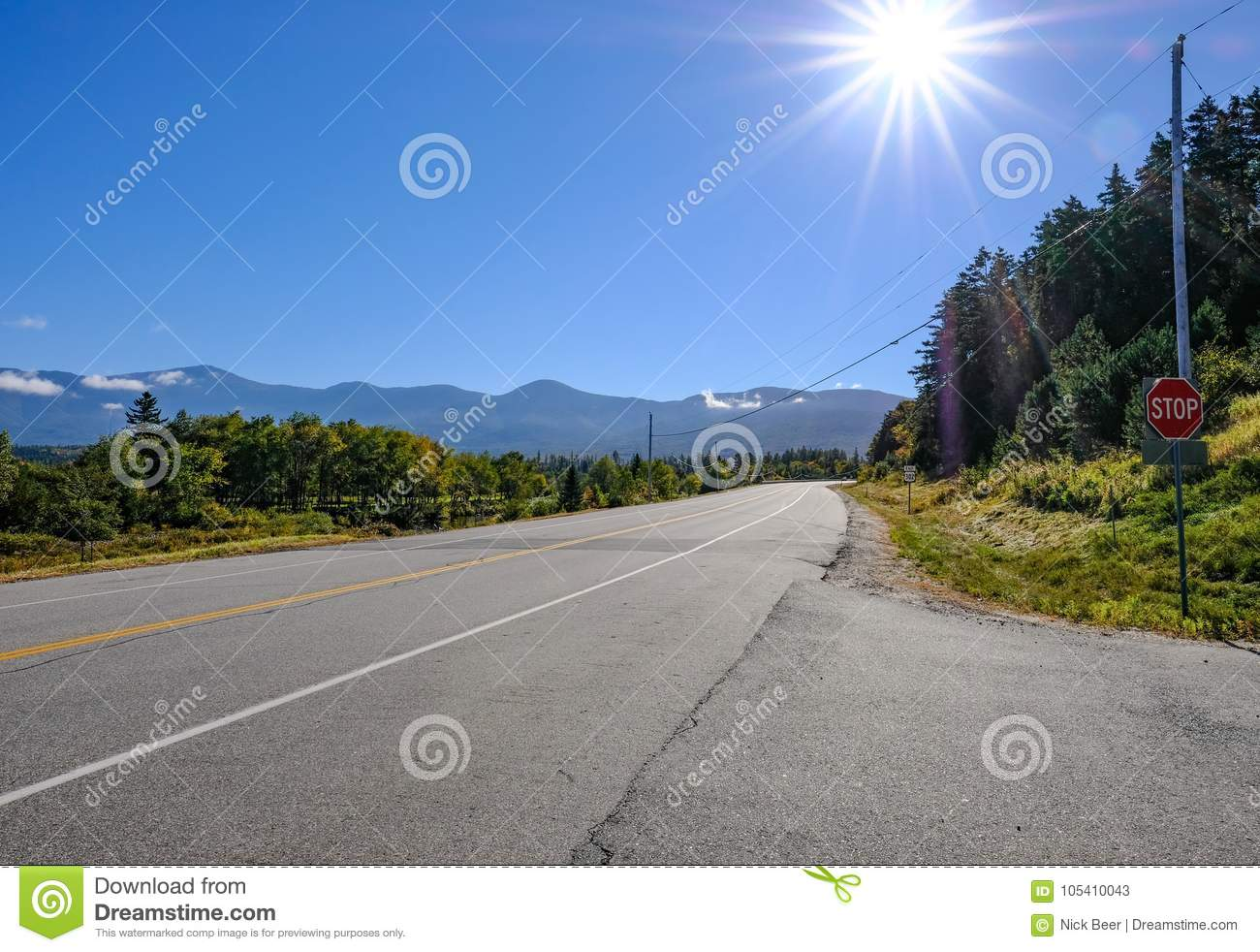 b4c599ed6fc31 Clear Blue Sky Seen On An Empty Highway On The Canadian US Border ...