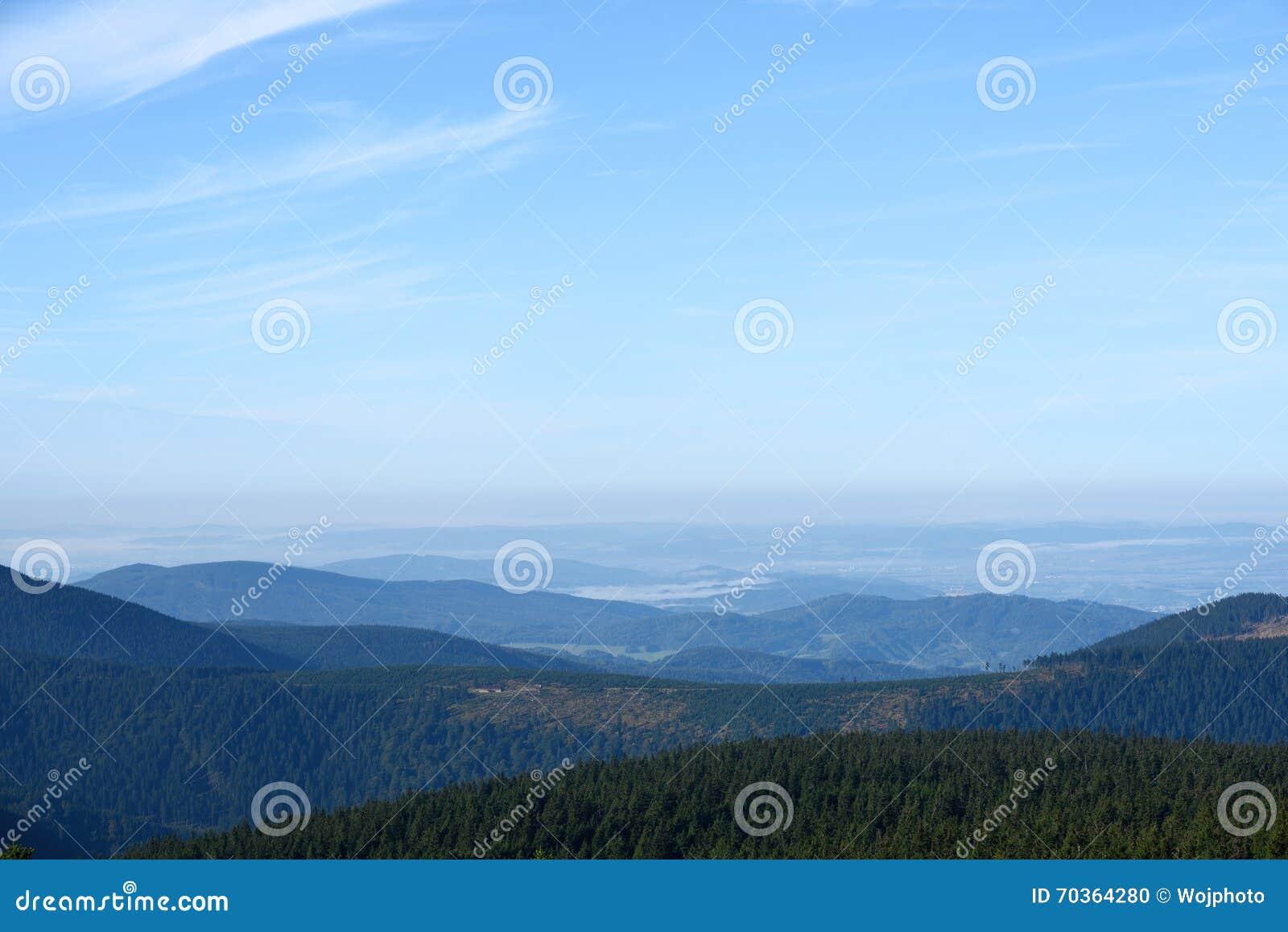 Distant hills and valleys landscape
