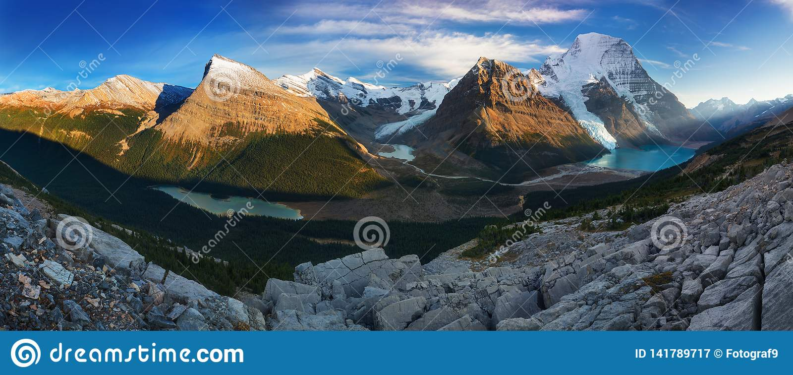 Distant Panoramic Landscape of Berg Lake and Snowy Mountain Robson Top in Jasper National Park Canadian Rocky Mountains.