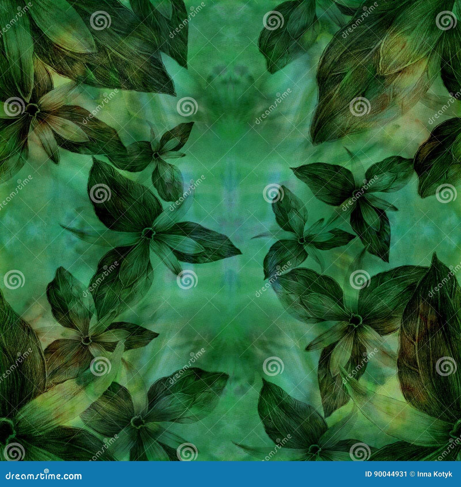 Distel Knospen Und Blumen Abstrakte Tapete Mit Blumenmotiven