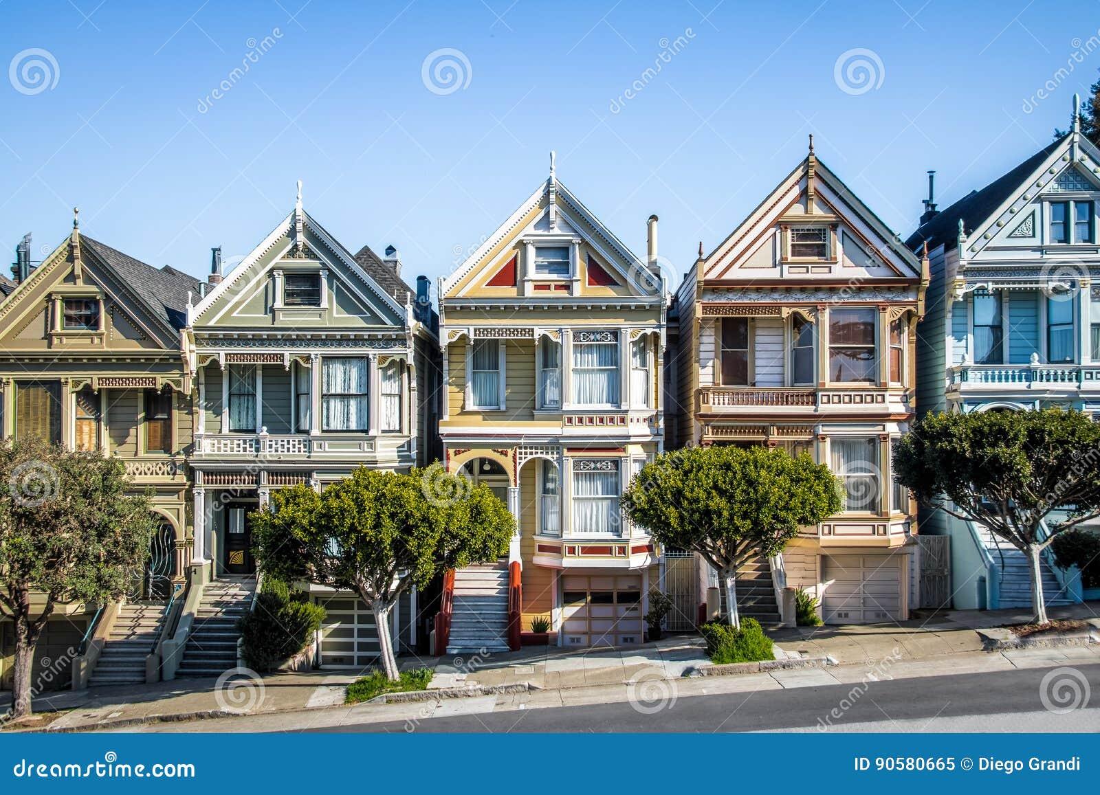 distelfalter viktorianische h user rudern an alamo quadrat san francisco kalifornien usa. Black Bedroom Furniture Sets. Home Design Ideas