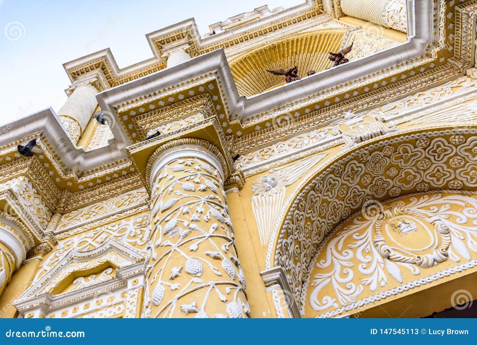 Baroque facade of La Merced church, Antigua, Guatemala
