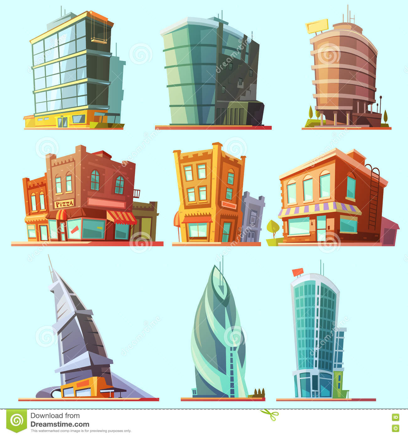 distinctive modern and old buildings icons set stock vector
